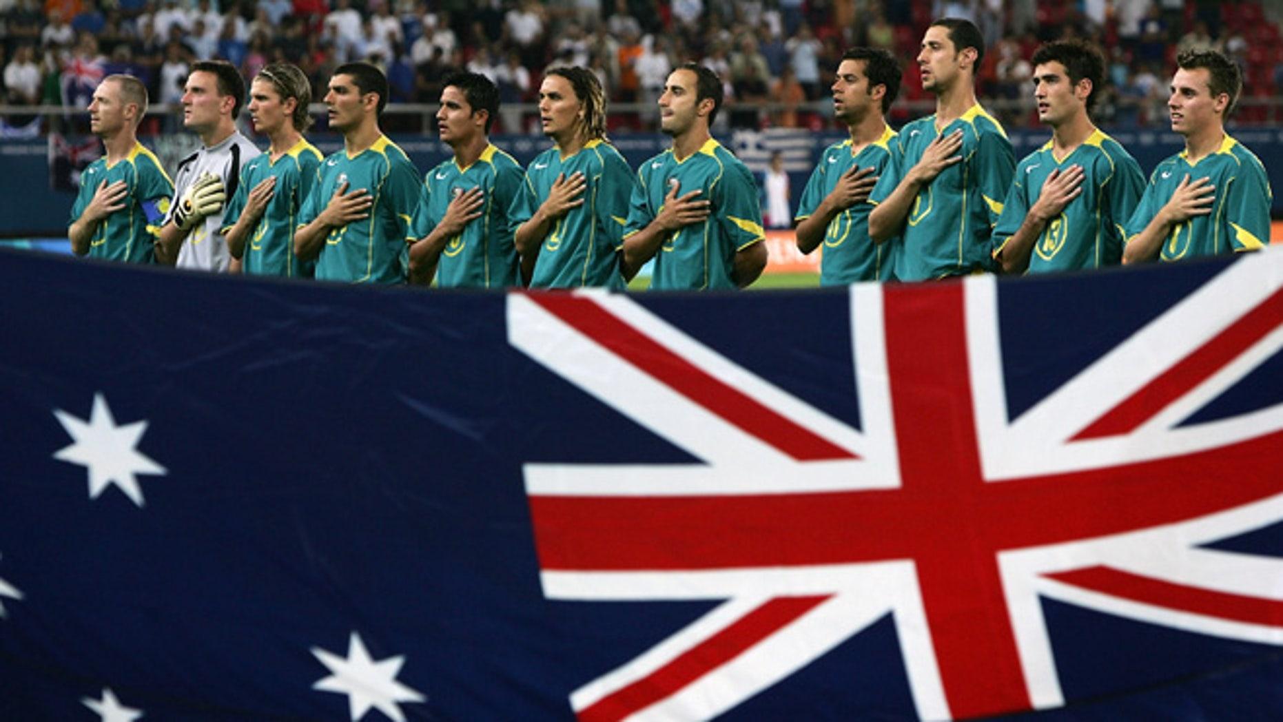 The Australian soccer team during the Athens 2004 Summer Olympic Games at Karaiskaki Stadium.