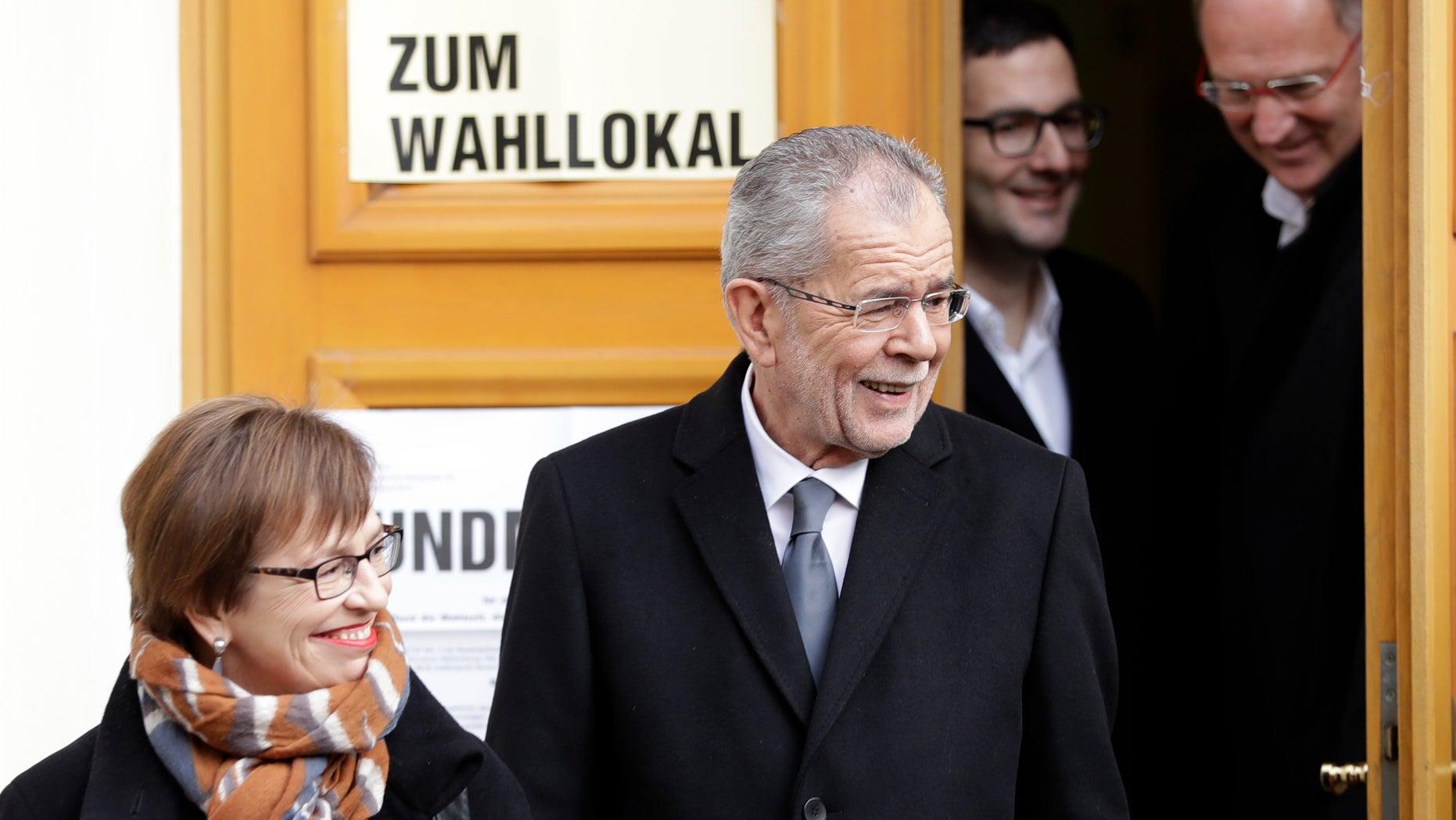 Alexander Van der Bellen leaves a polling station in Vienna on Sunday.