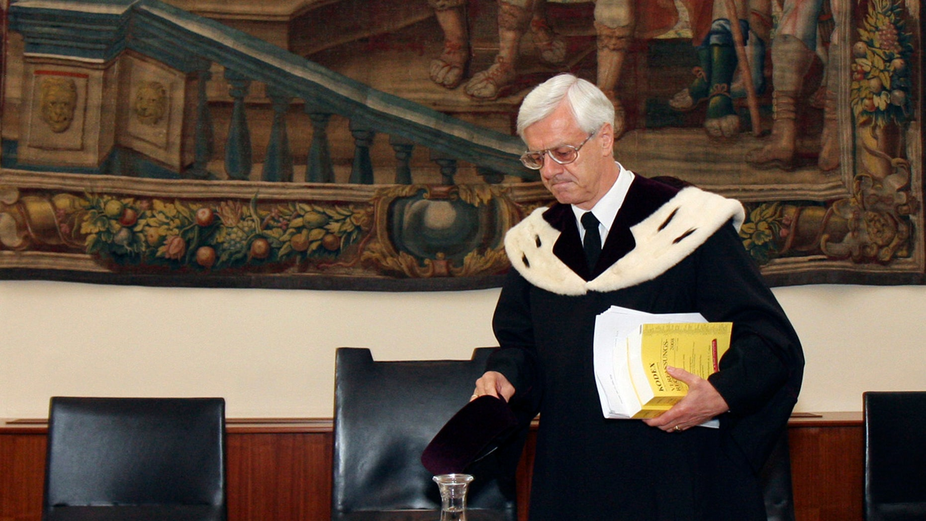 The Austrian Constitutional Court with President Gerhart Holzinger meets in Vienna, Austria.