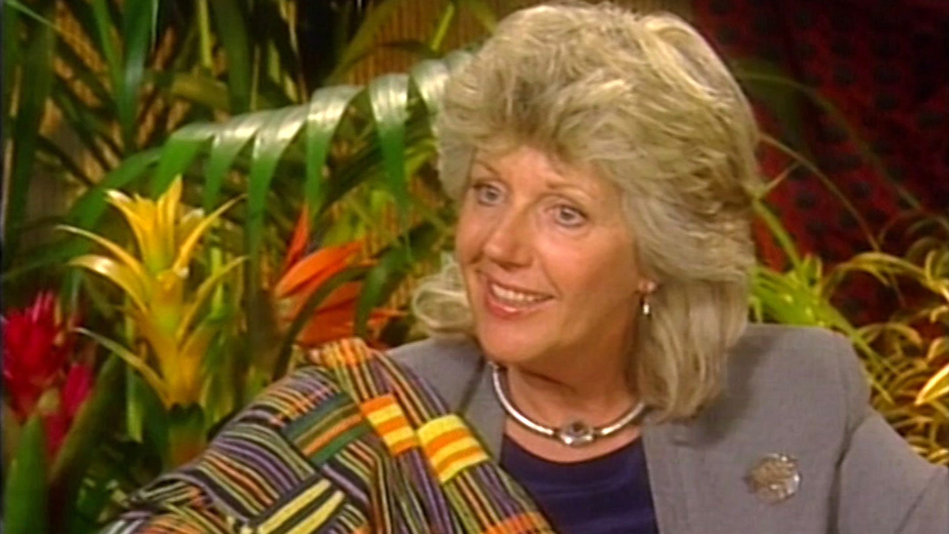 In this image from a video footage taken on May 3, 2000 in New York, the Italian-born author and conservationist Kuki Gallmann speaks during an interview.