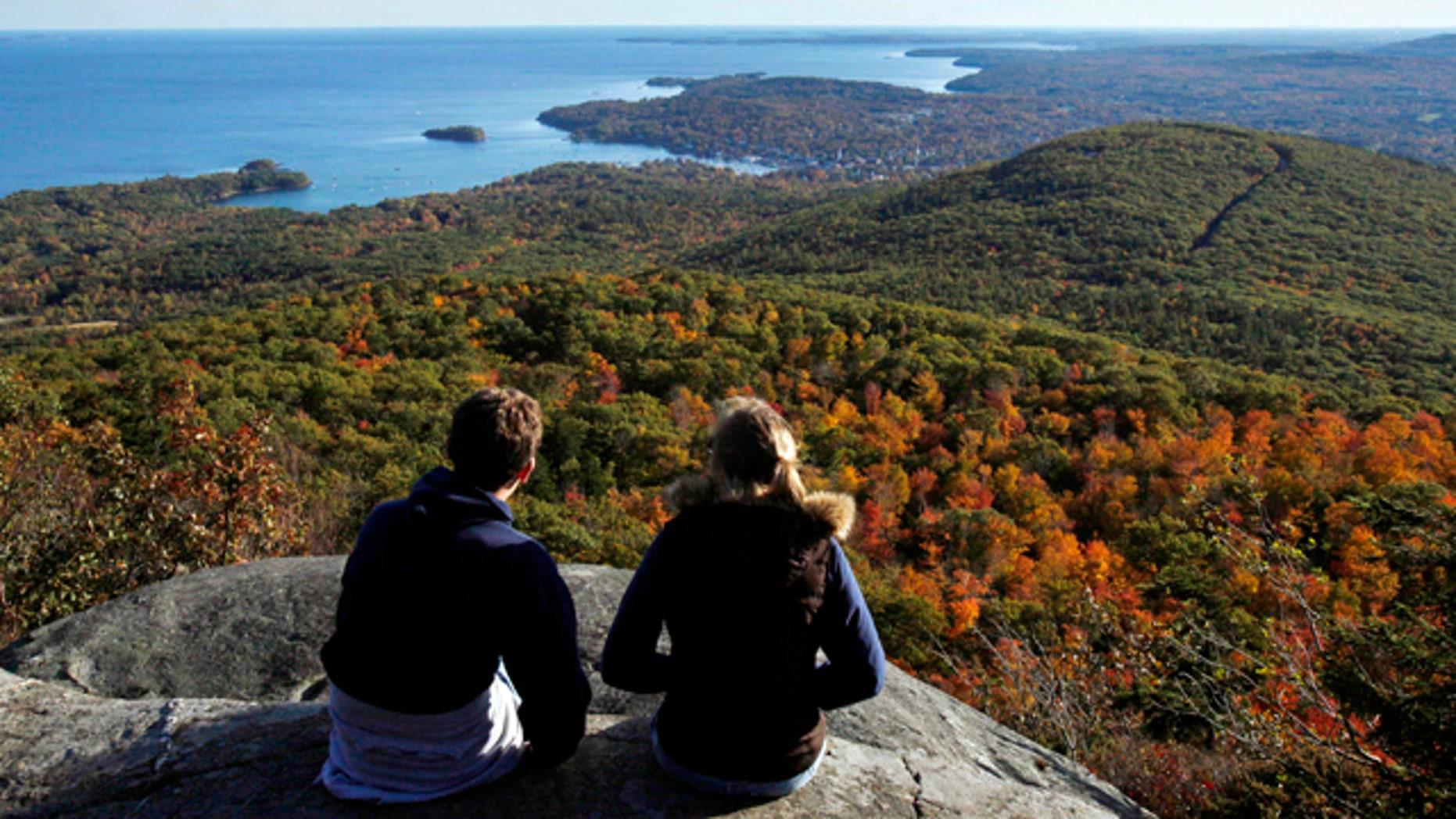 View From Mount Megunticook at Camden Hills State Park in Camden, Maine.