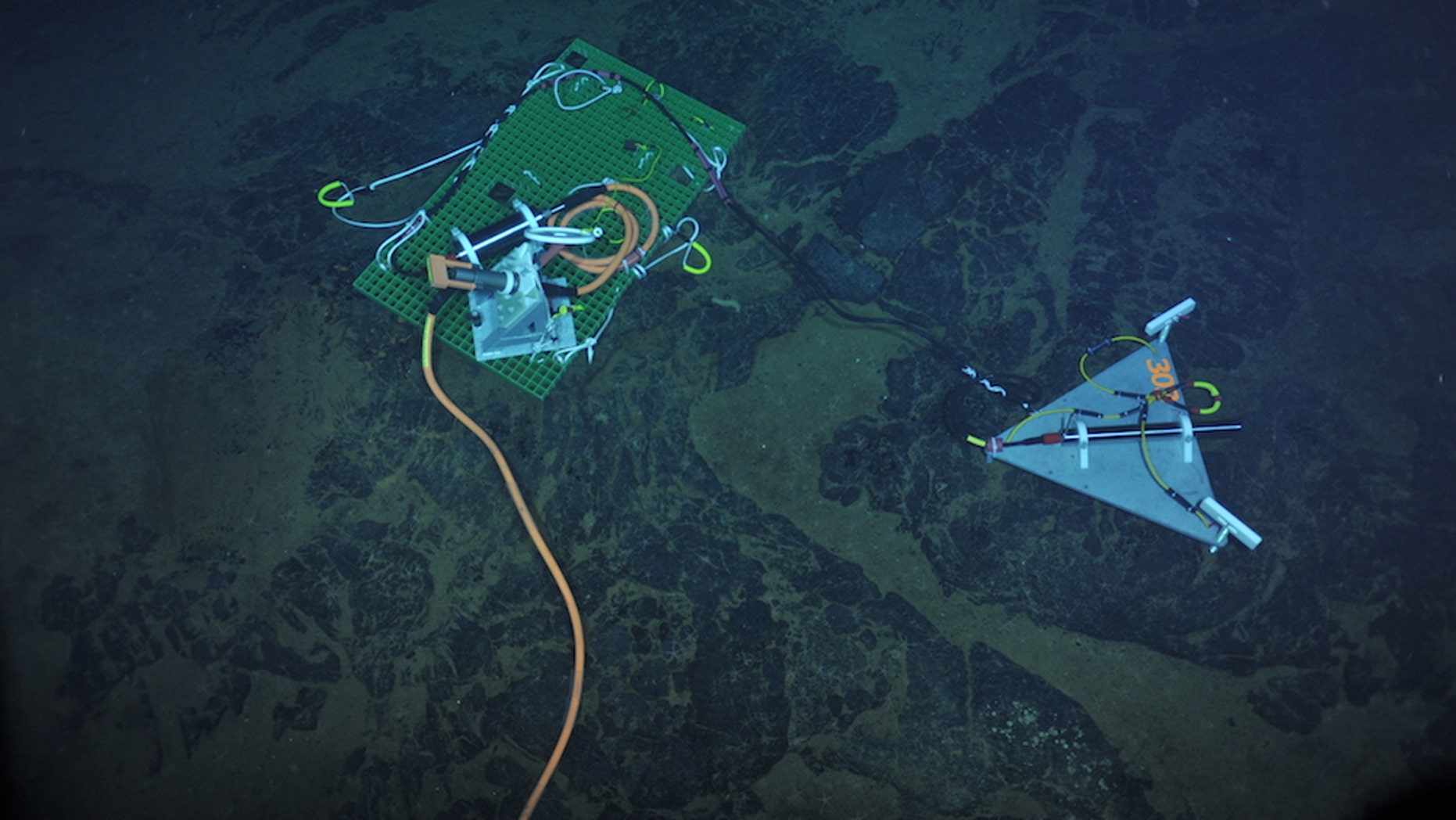 A seismometer (long black cylinder, right) installed in 2013 atop the Axial Seamount. The green plate transmits real-time data to the orange cable and then back to shore as part of the National Science Foundation's Ocean Observatories Initiative.
