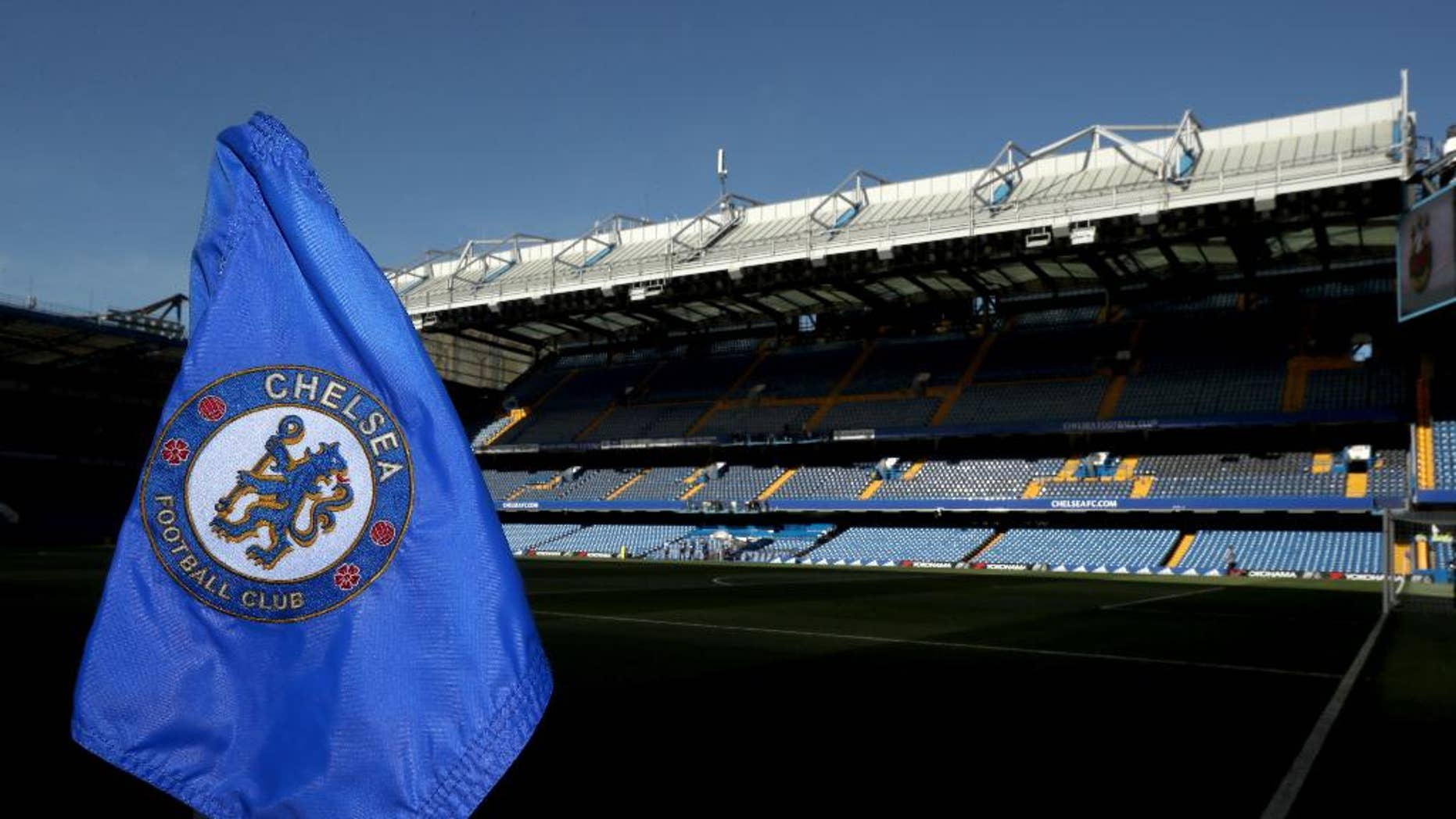 "FILE - This is a Aug. 15, 2016 file photo of a corner flag at Stamford Bridge, the home of Chelsea FC in London.  A former Chelsea player says he was paid by the Premier League club to ""keep a lid"" on sexual abuse he suffered at the hands of its former chief scout. Gary Johnson, who is now 57, told Britain's Daily Mirror newspaper he was groomed and sexually assaulted repeatedly every week from the age of 13 until he was 16 or 17.(Nick Potts/PA via AP)"