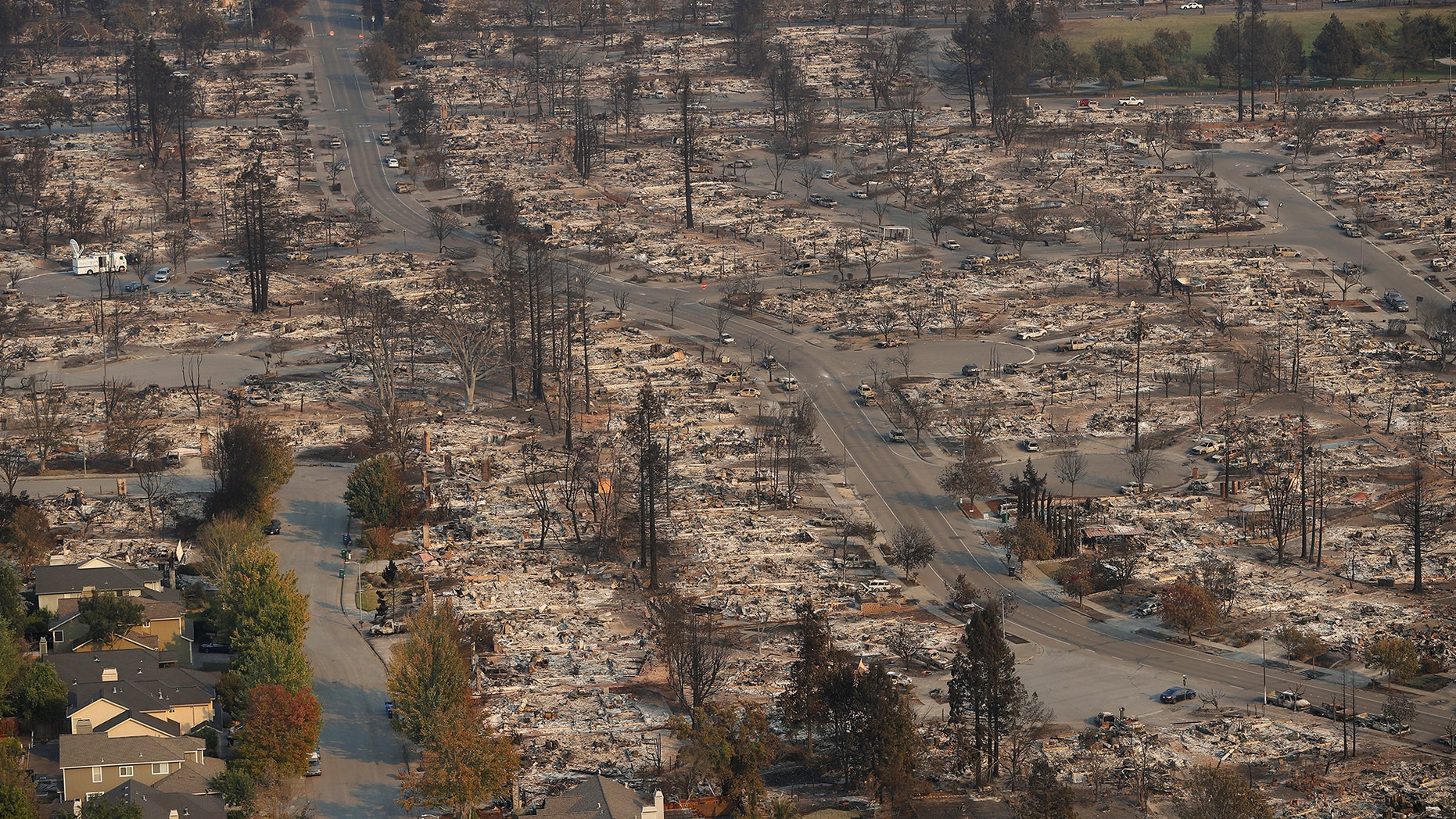 An aerial view of properties destroyed by the Tubbs Fire is seen in Santa Rosa, California, October 11, 2017. REUTERS/Stephen Lam - RC12D4D0BCB0