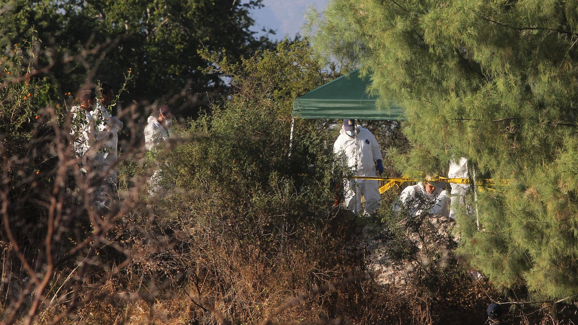 Forensic workers continue their search for bodies after several clandestine graves were found near the town of La Barca, western Mexico, Monday, Nov. 25, 2013. The number of bodies found in almost two dozen clandestine graves at the site has risen to 42, after five more corpses were discovered over the weekend. Agents were led to the 22 mass graves by local police officers who confessed to working with a drug cartel. (AP Photo)