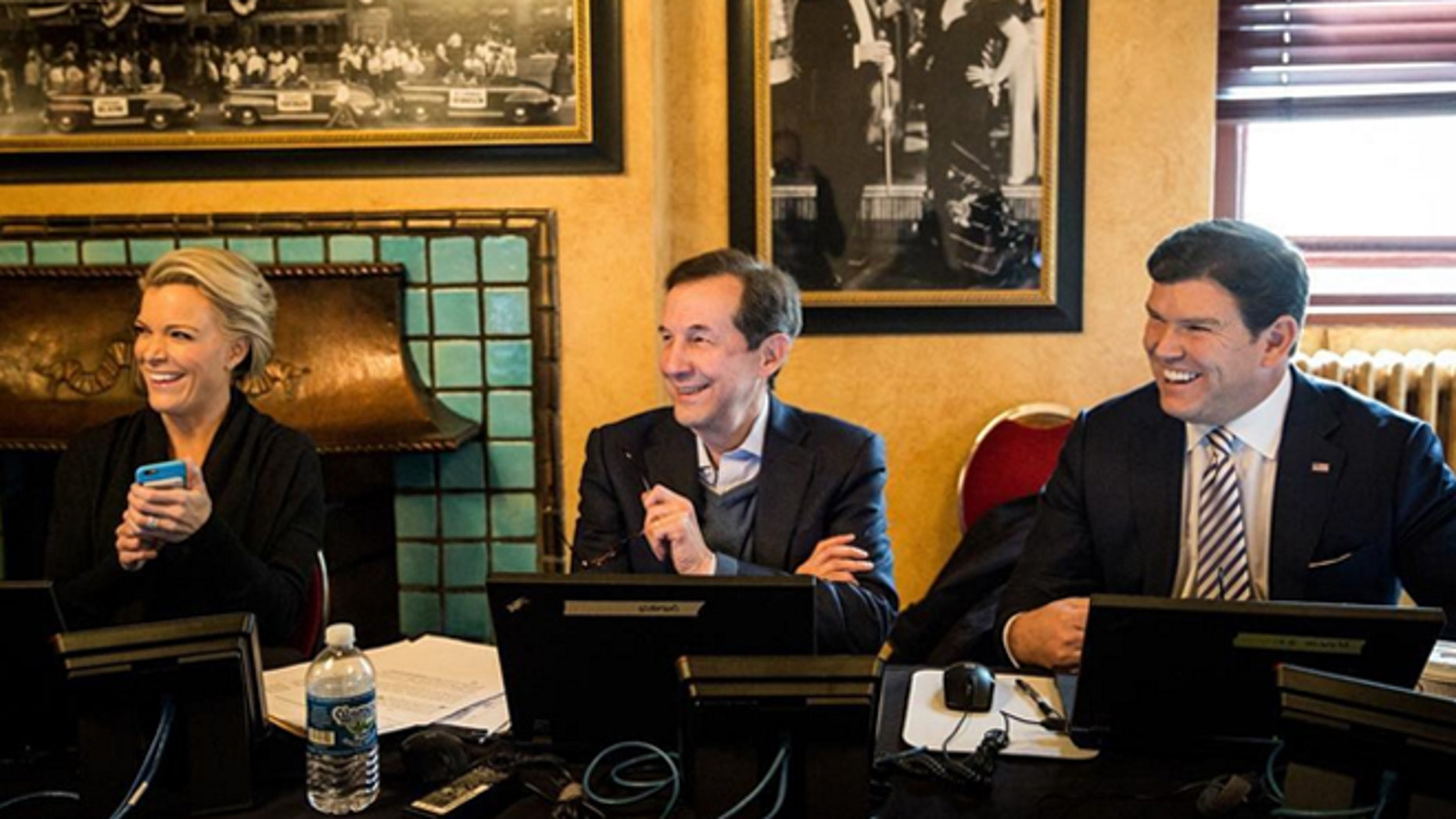A light moment during debate preparations at the Fox Theatre in Detroit.