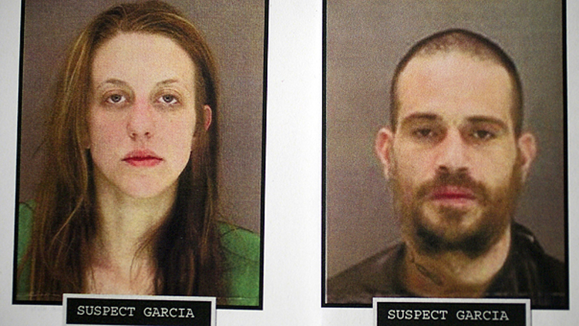 This undated photo provided by the Los Angeles Police Department shows homicide suspects, Melissa Hope Garcia, left, and Edward Garcia. Jr., who are suspected of killing Herbert Tracy White.