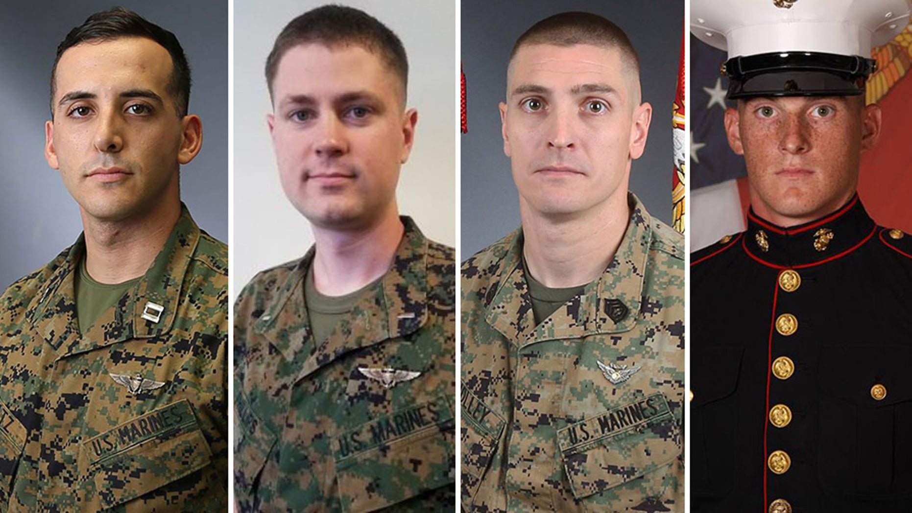 The deceased Marines, from left to right, were Capt. Samuel A. Schultz, First Lt. Samuel D. Phillips, Gunnery Sgt. Derik R. Holley and Lance Cpl. Taylor J. Conrad.