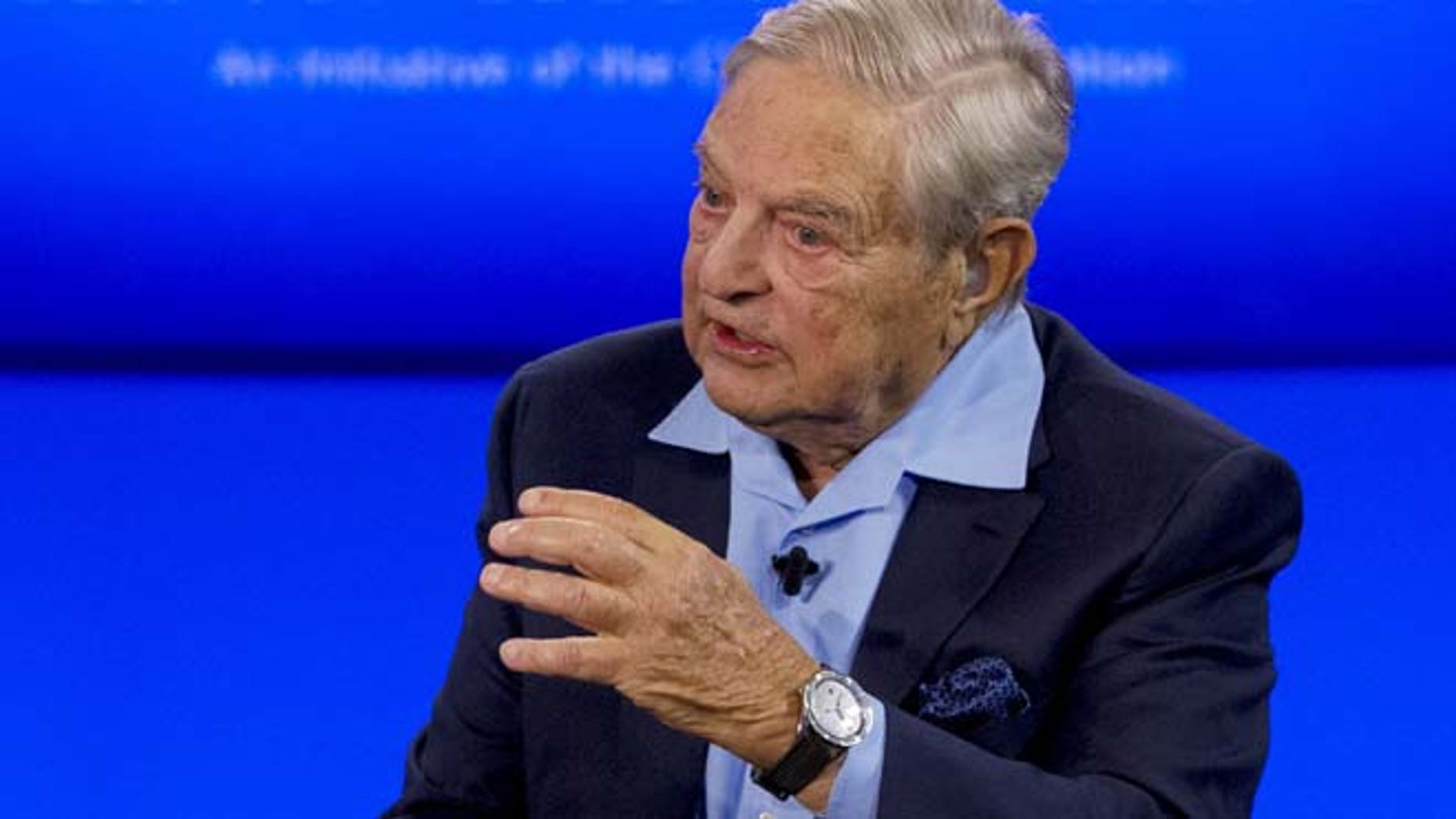 Sept. 27: Billionaire hedge fund manager George Soros speaks during a discussion at the Clinton Global Initiative's annual meeting in New York/