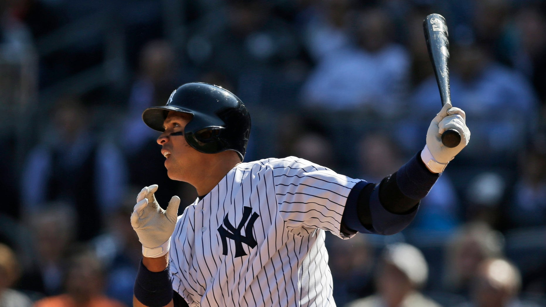 Alex Rodriguez after a base hit against the Toronto Blue Jays at Yankee Stadium, Monday, April 6, 2015.