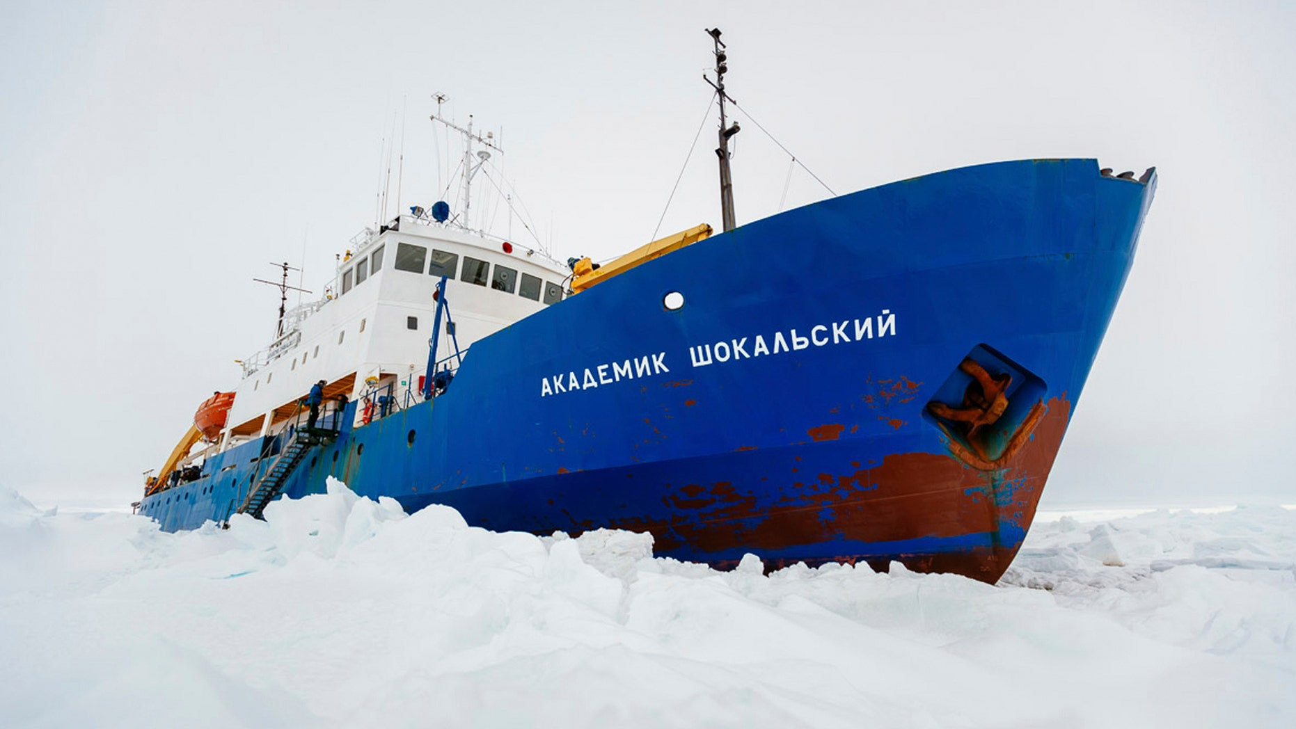 Dec. 27, 2013: In this image provided by Australasian Antarctic Expedition/Footloose Fotography the Russian ship MV Akademik Shokalskiy is trapped in thick Antarctic ice 1,500 nautical miles south of Hobart, Australia.