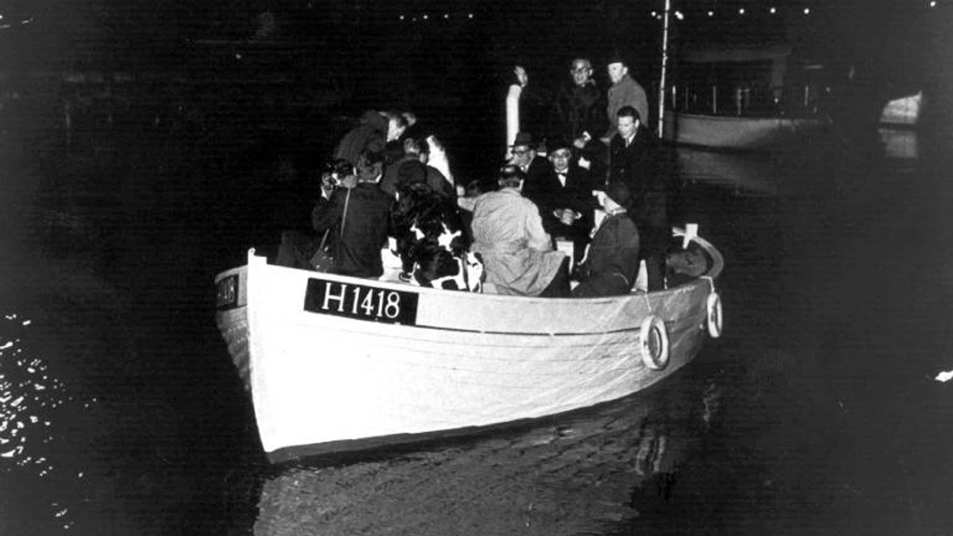 This 1943 photo shows a boat carrying people during the escape of some of 7,000 Danish Jews who fled to safety in neighbouring Sweden