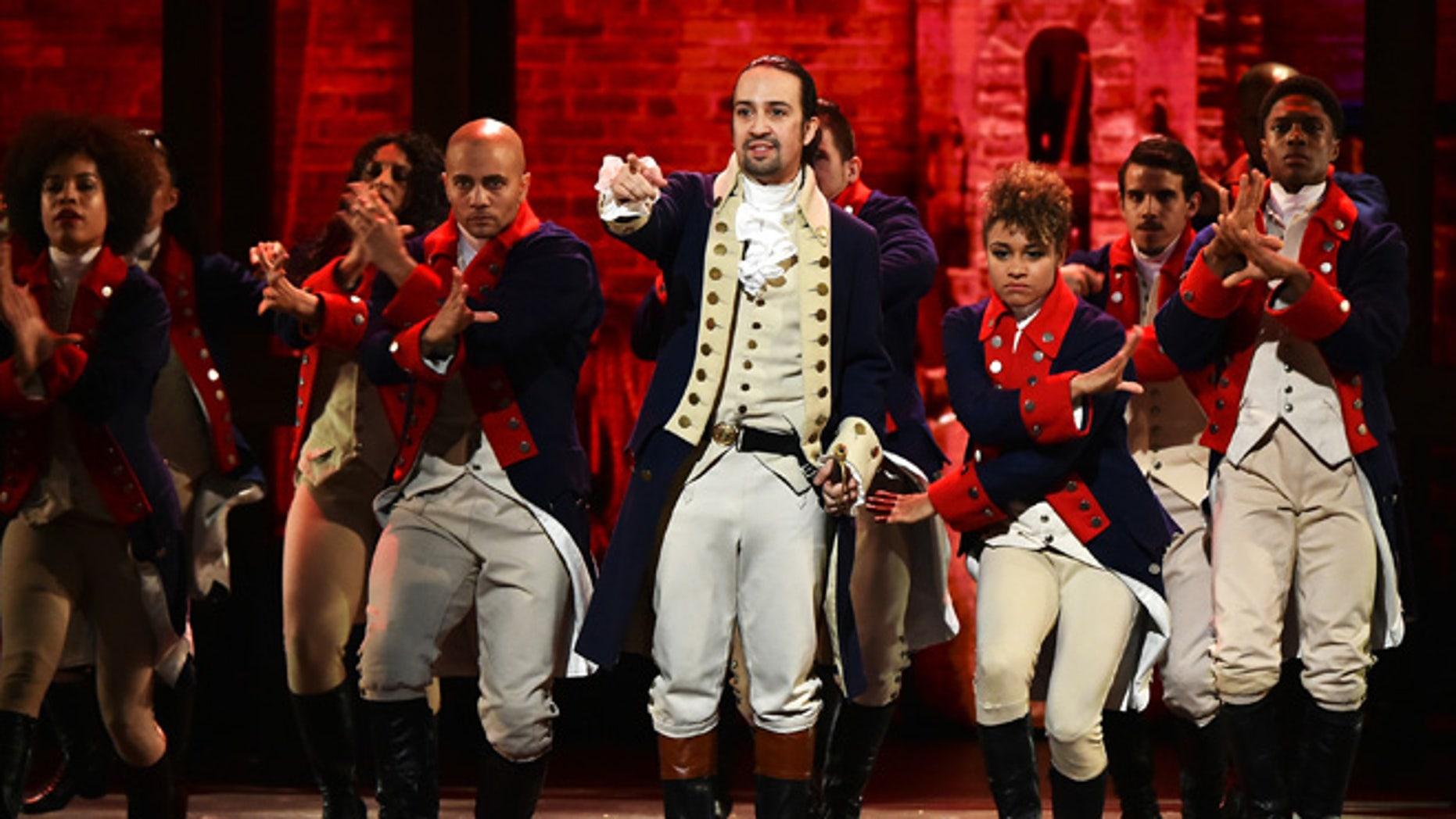 Lin-Manuel Miranda and the cast of 'Hamilton' on June 12, 2016 in New York City.