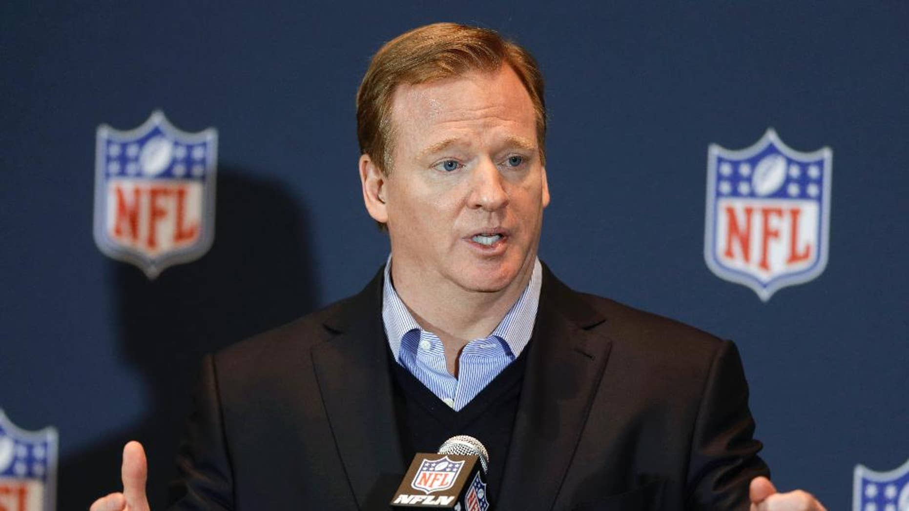 """FILE - in this March 26, 2014, file photo, NFL Commissioner Roger Goodell answers questions during a news conference in Orlando, Fla. Goodell says the league asked for, but was not given, a just-released video showing former Baltimore Ravens running back Ray Rice hitting his then-fiancee on an elevator. Goodell says during an interview with CBS aired Tuesday, Sept. 9, 2014: """"We assumed that there was a video. We asked for video. But we were never granted that opportunity."""" (AP Photo/John Raoux, File)"""