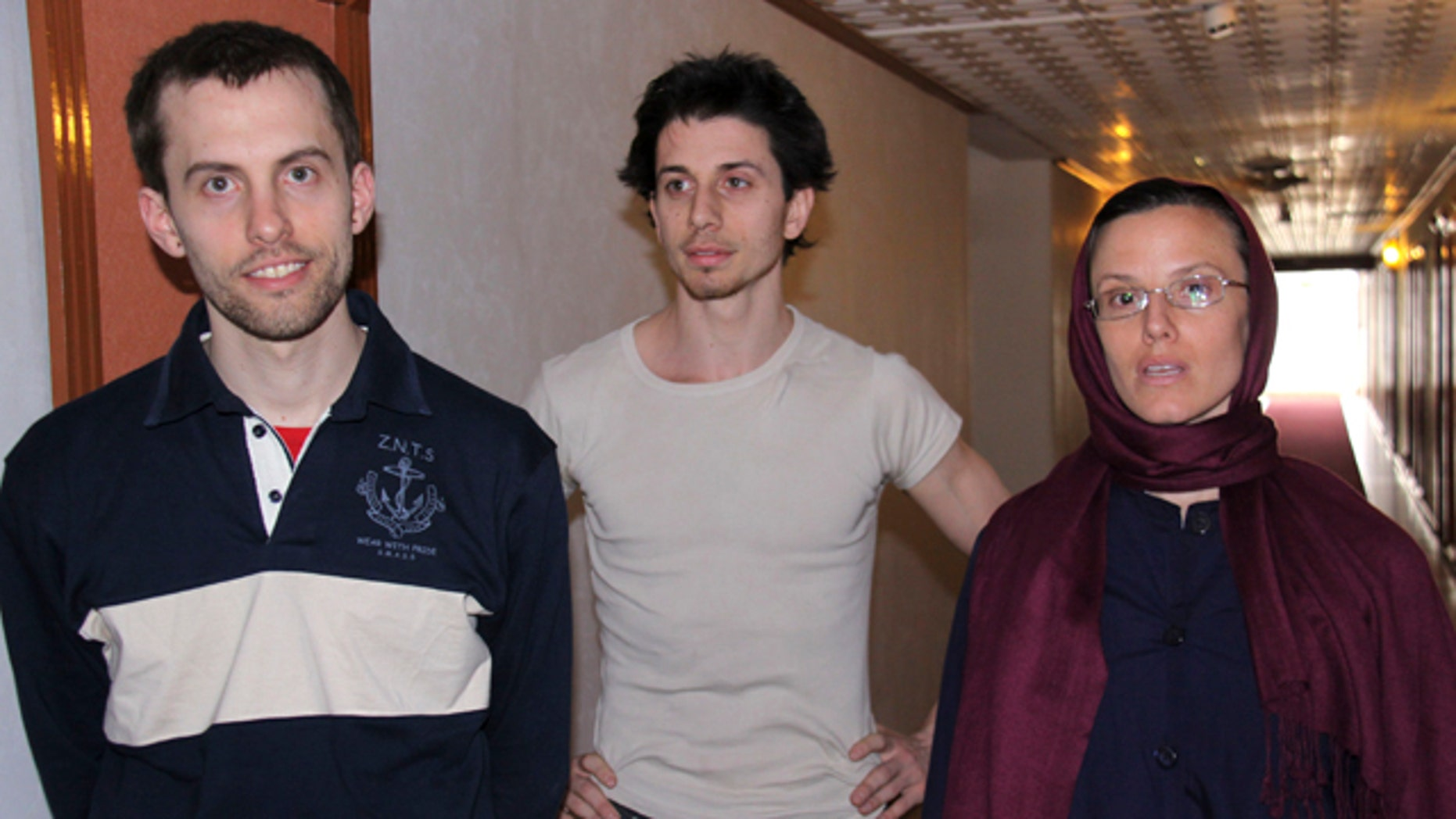 In this May 21, 2010 file photo, American hikers Shane Bauer, left, Josh Fattal, center, and Sarah Shourd are shown in Tehran.