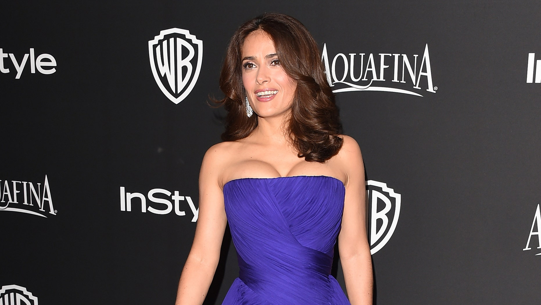 BEVERLY HILLS, CA - JANUARY 11:  Actress Salma Hayek Pinault attends the 2015 InStyle And Warner Bros. 72nd Annual Golden Globe Awards Post-Party at The Beverly Hilton Hotel on January 11, 2015 in Beverly Hills, California.  (Photo by Jason Merritt/Getty Images)