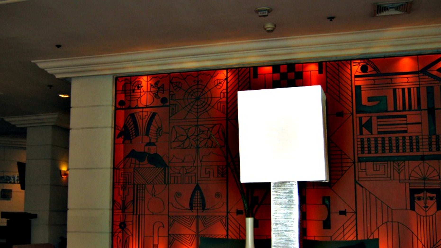 """Salvadoran artist Fernando Llort's work will soon be found in Plaza Barrios near the """"Hermano Lejano"""" monument. Here, Llort's art can be seen in Hotel Intercontinental's lobby."""