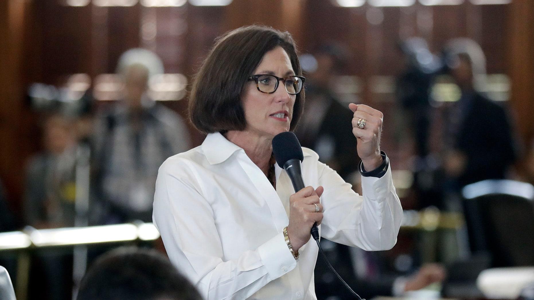 """State Sen. Lois Kolkhorst, R-Brenham, speaks during debate over a """"bathroom bill"""" in the Senate chamber, Tuesday, July 25, 2017, in Austin, Texas"""