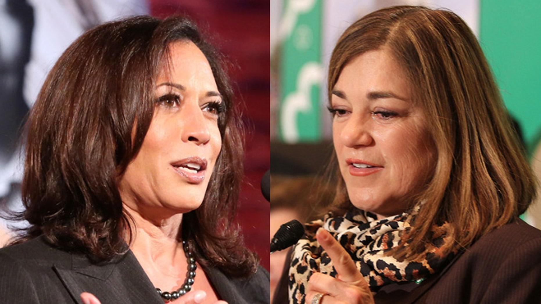 California Attorney General Kamala Harris, left; Rep. Loretta Sanchez, right.