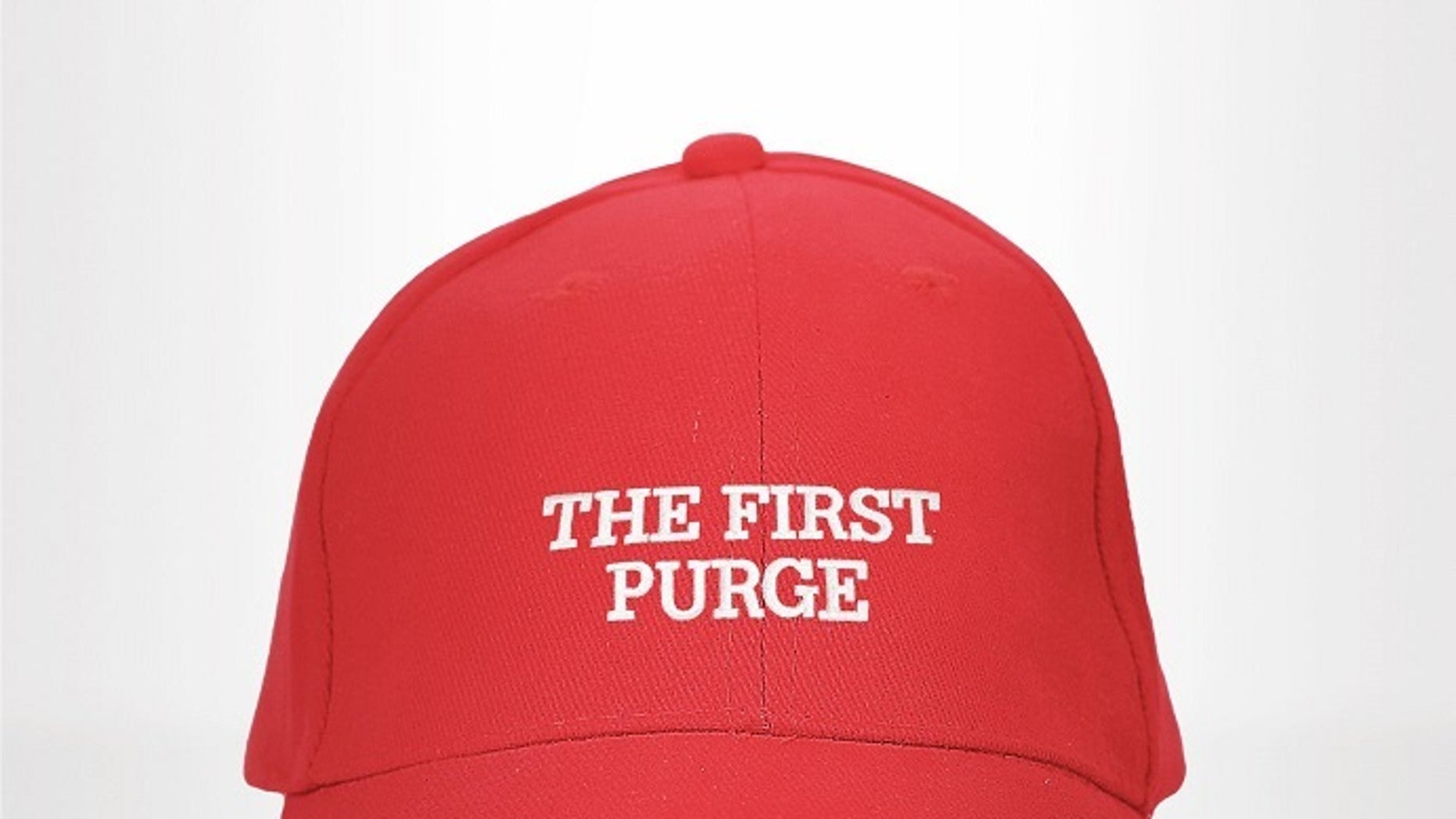 """The First Purge"" movie poster featured a replica to a hat similar to the ""Make America Great Again"" baseball caps made popular during Donald Trump's presidential campaign."