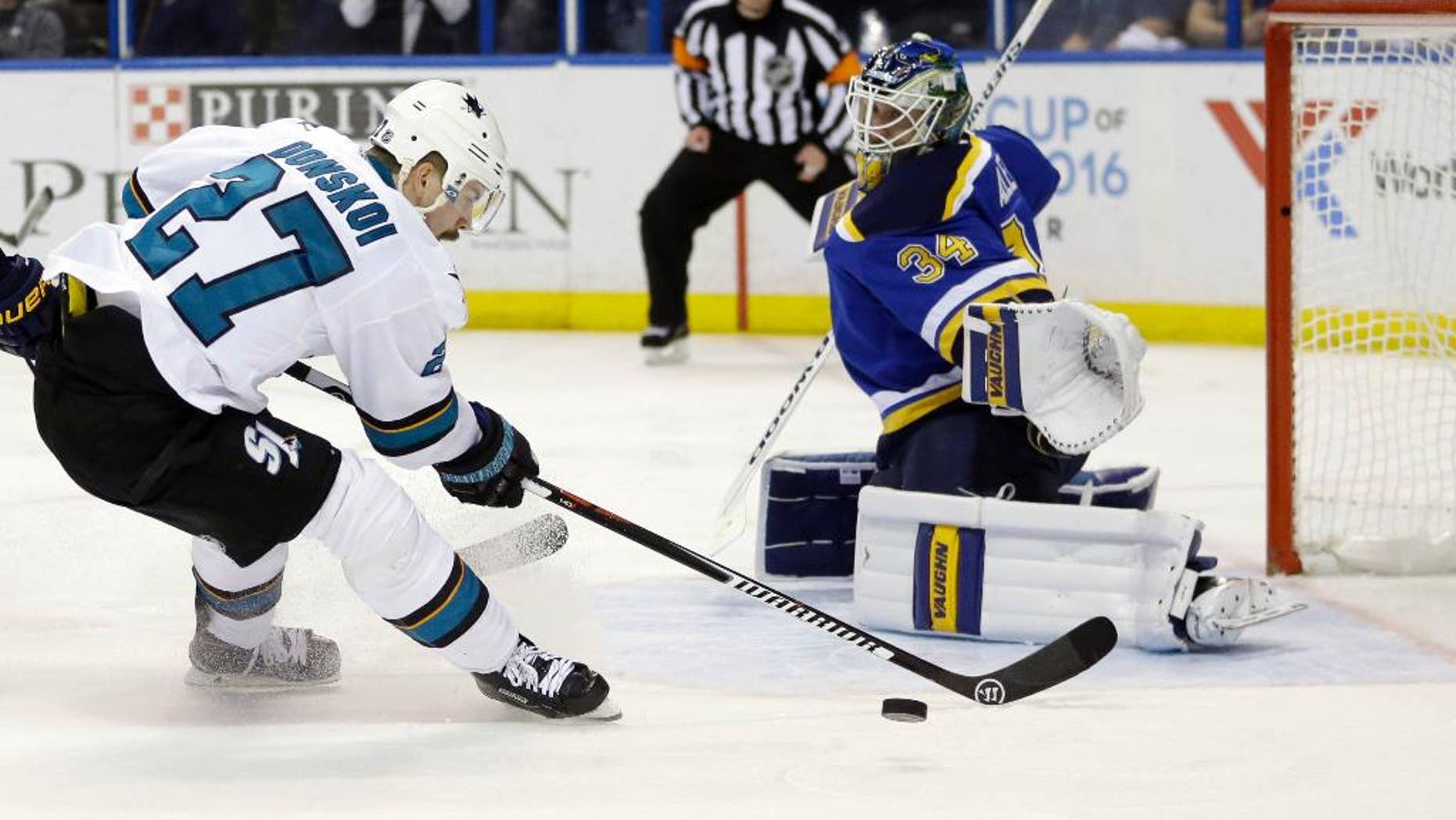 San Jose Sharks right wing Joonas Donskoi (27) chases the puck against St. Louis Blues goalie Jake Allen (34) during the third period in Game 5 of the NHL hockey Stanley Cup Western Conference finals, Monday, May 23, 2016, in St. Louis. (AP Photo/Jeff Roberson)