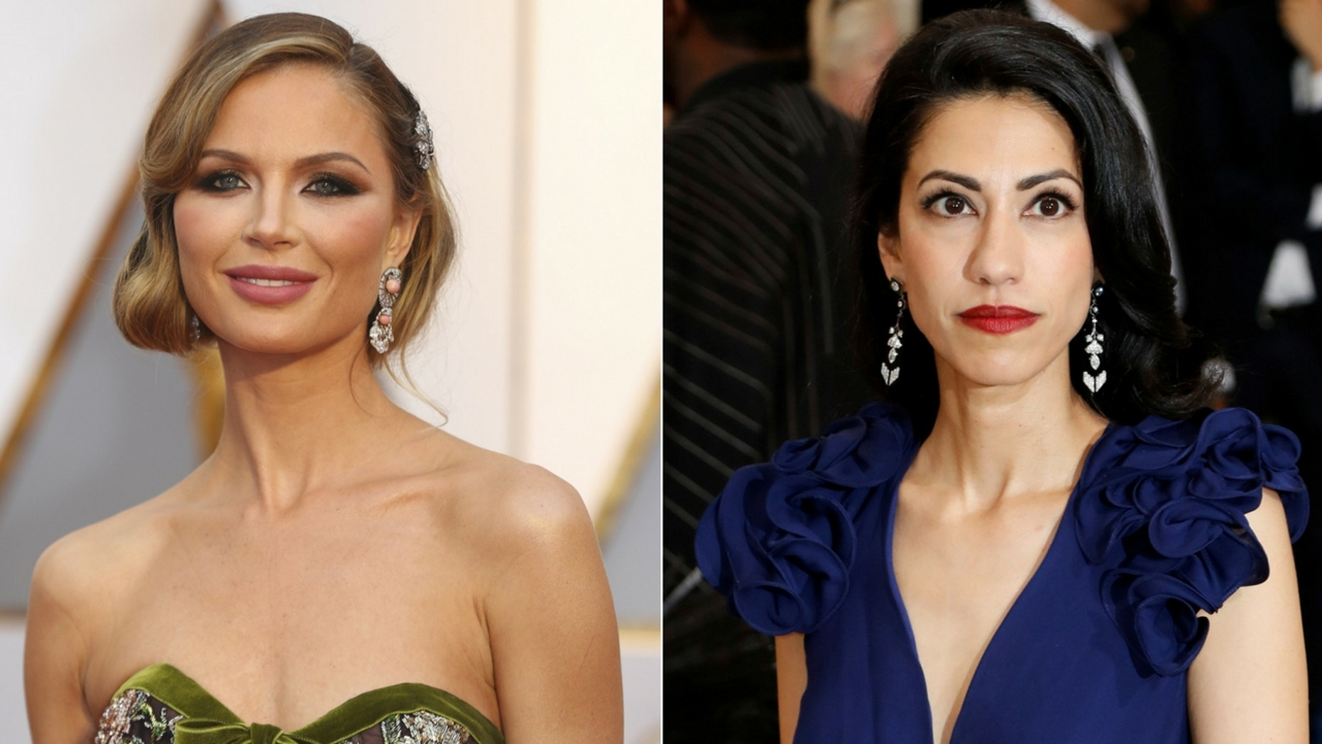"Huma Abedin (right) said she and Georgina Chapman (left) bonded ""in all kinds of ways"" after both of their husbands were caught up in sexual misconduct scandals."