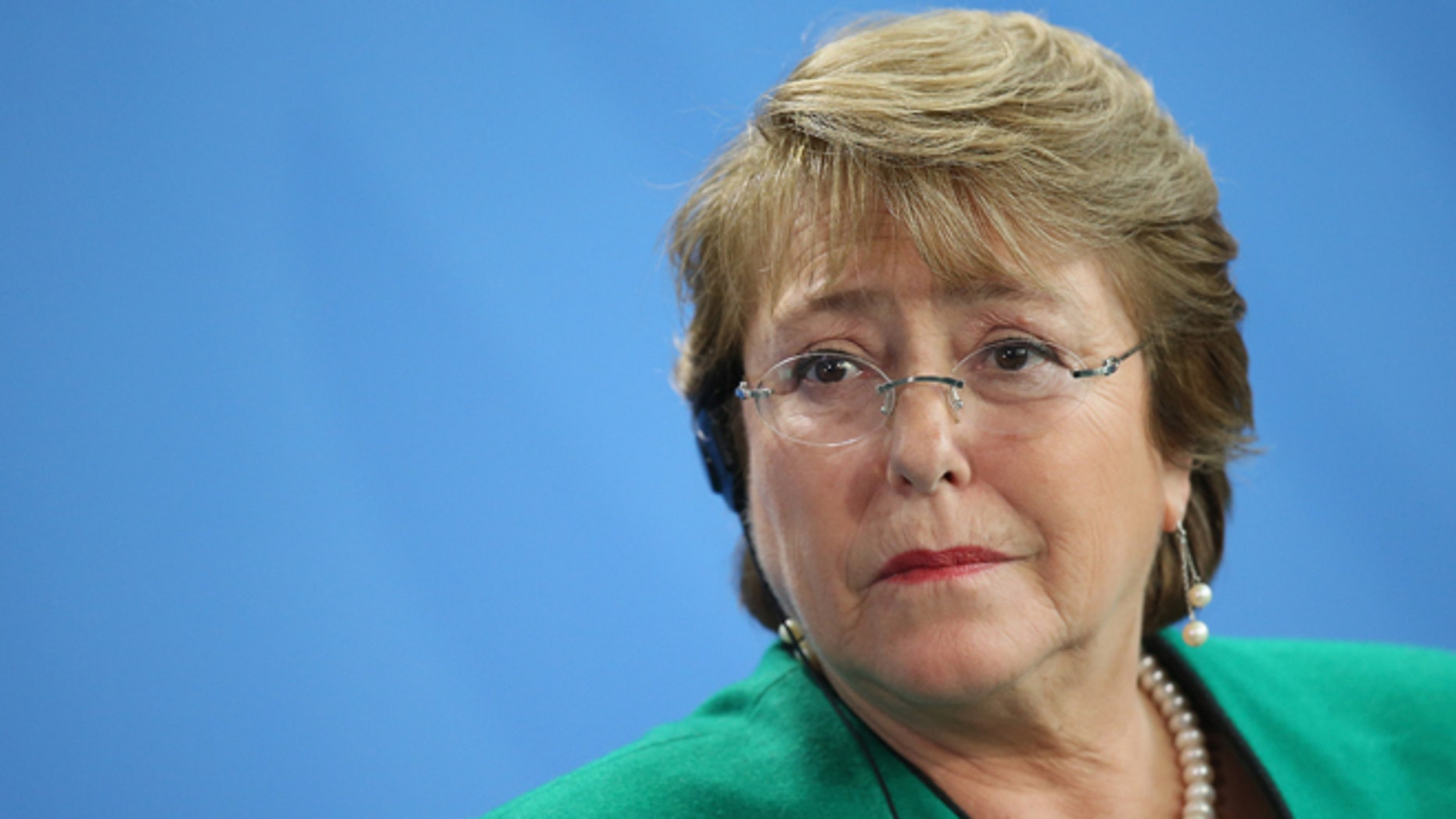 BERLIN, GERMANY - OCTOBER 27:  Chilean President  Michelle Bachelet speaks to the media with German Chancellor Angela Merkel (not pictured) following talks at the Chancellery on October 27, 2014 in Berlin, Germany. Bachelet is on a two-day official visit to Germany, which includes a visit to Dresden, where Bachelet studied medicine as a student.  (Photo by Sean Gallup/Getty Images)