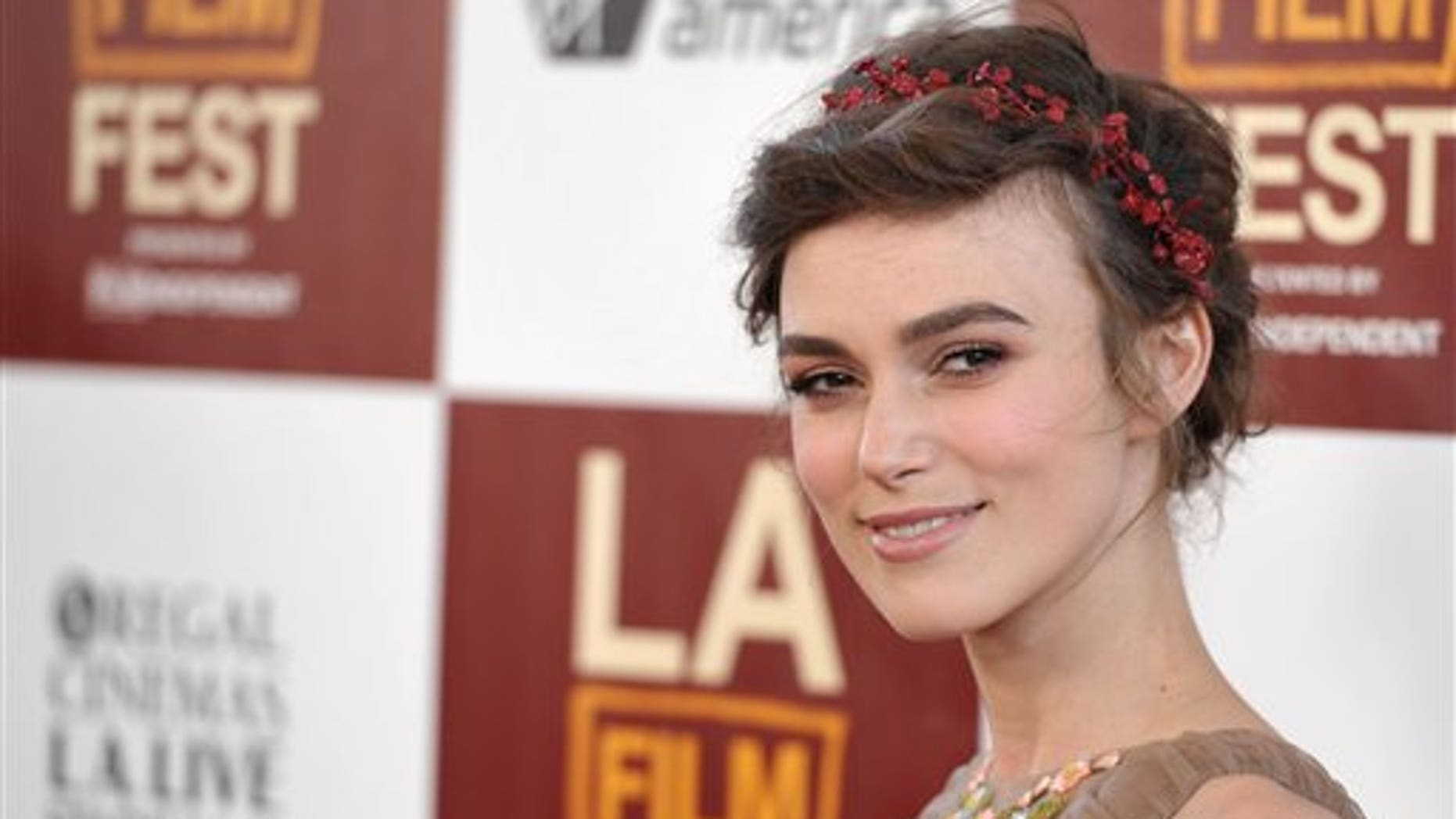 """Keira Knightley arrives at the premiere of """"Seeking a Friend for the End of the World"""" at Regal Cinemas LA Live on Monday June 18, 2012 in Los Angeles. (Photo by John Shearer/Invision/AP)"""