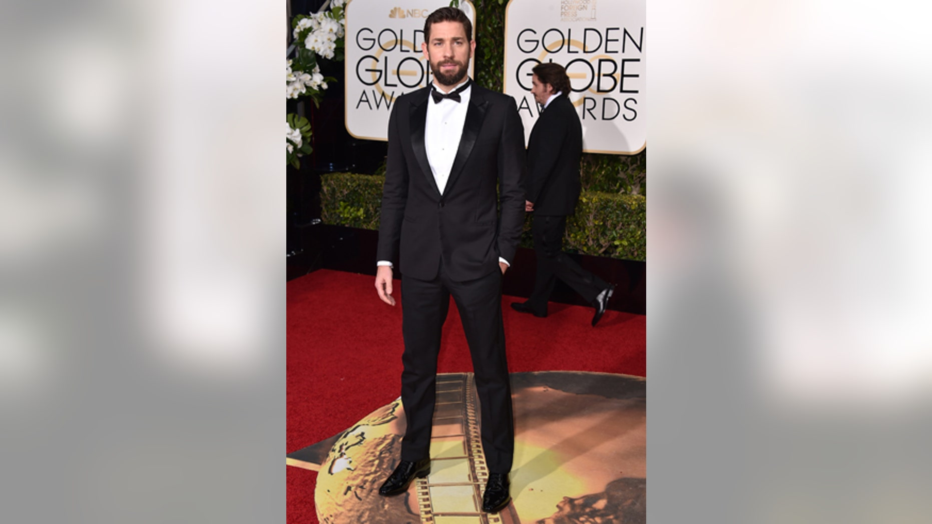 John Krasinski arrives at the 73rd annual Golden Globe Awards on Sunday, Jan. 10, 2016, at the Beverly Hilton Hotel in Beverly Hills, Calif. (Photo by Jordan Strauss/Invision/AP)