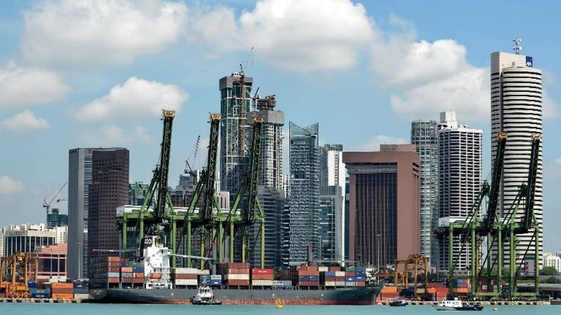 The Keppel container port next to the financial district in Singapore on April 12, 2013