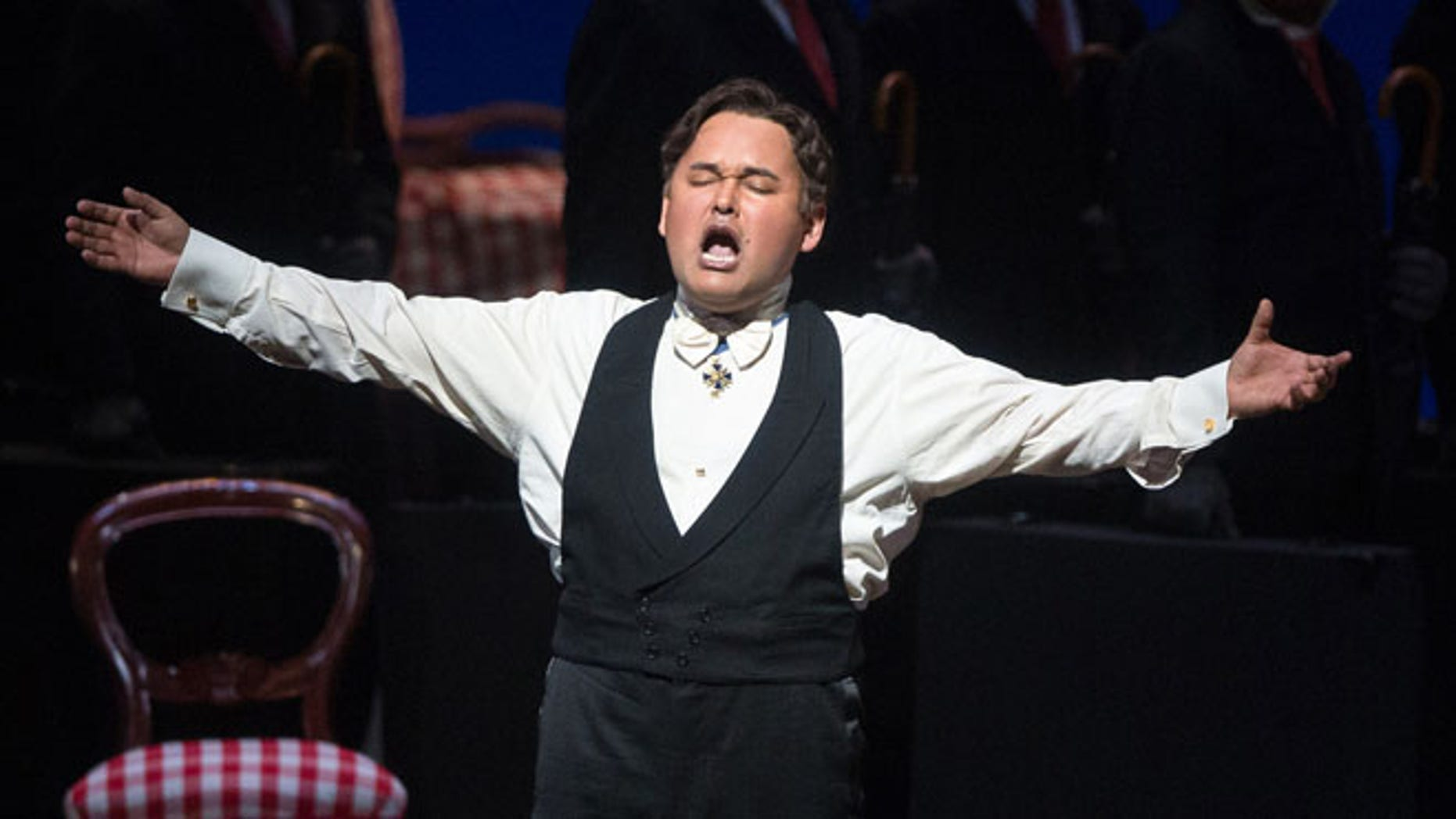 FILE - In this April 25, 2014 file photo provided by the Metropolitan Opera, Javier Camarena performs as Don Ramiro during a performance of âLa Cenerentolaâ at the Metropolitan Opera in New York. After giving a rare encore at New Yorkâs Metropolitan Opera earlier this year, Camarena is marking the 10th anniversary of his international career this week by giving his first professional performance in the city of his birth. The benefit concert for cancer patients will be held Friday, July 4 in Camarenaâs native Xalapa, capital of the Gulf state of Veracruz. (AP Photo/Metropolitan Opera, Marty Sohl, File)