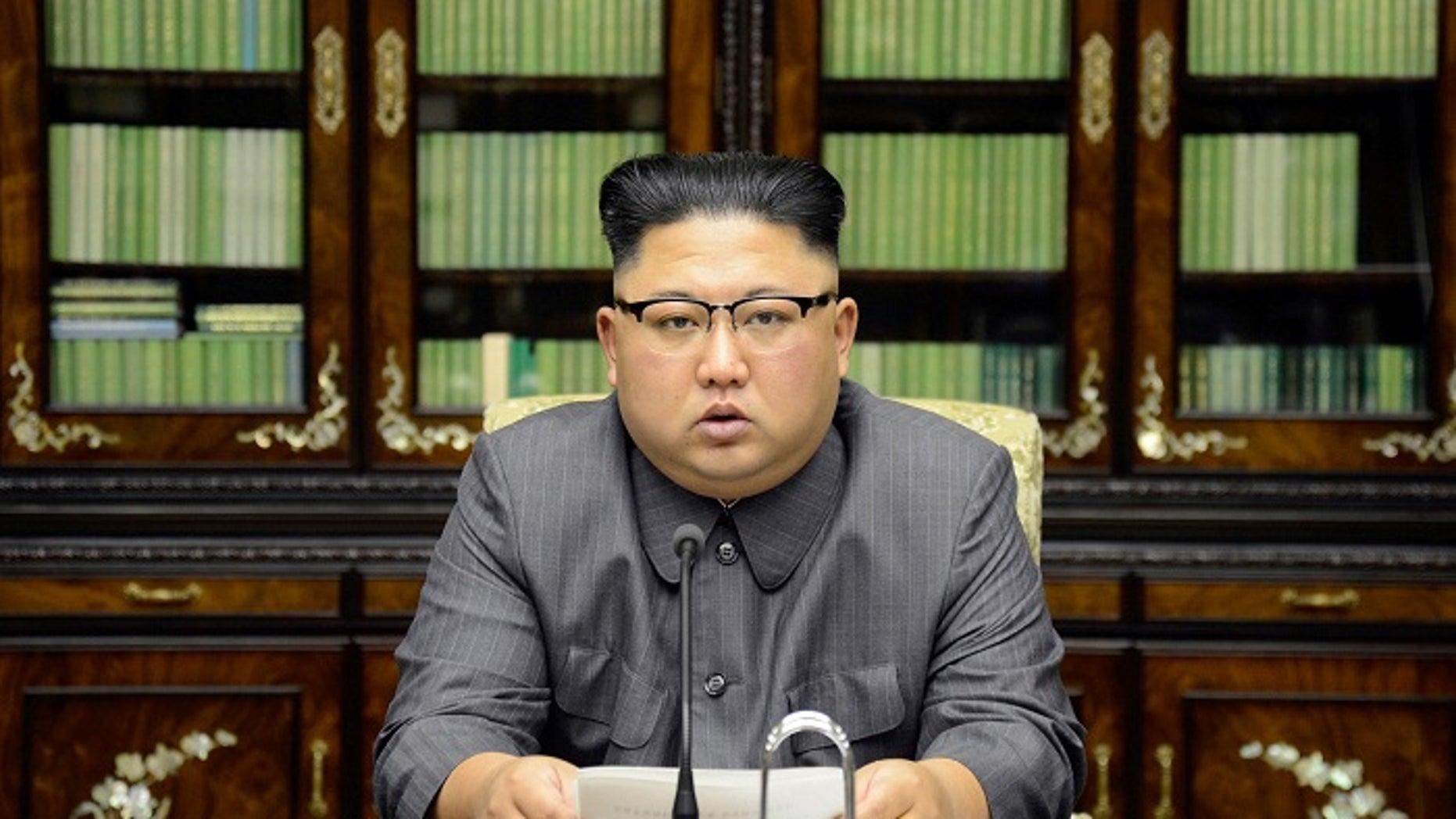 North Korean leader Kim Jong Un makes a statement regarding U.S. President Donald Trump's speech at the U.N. General Assembly.