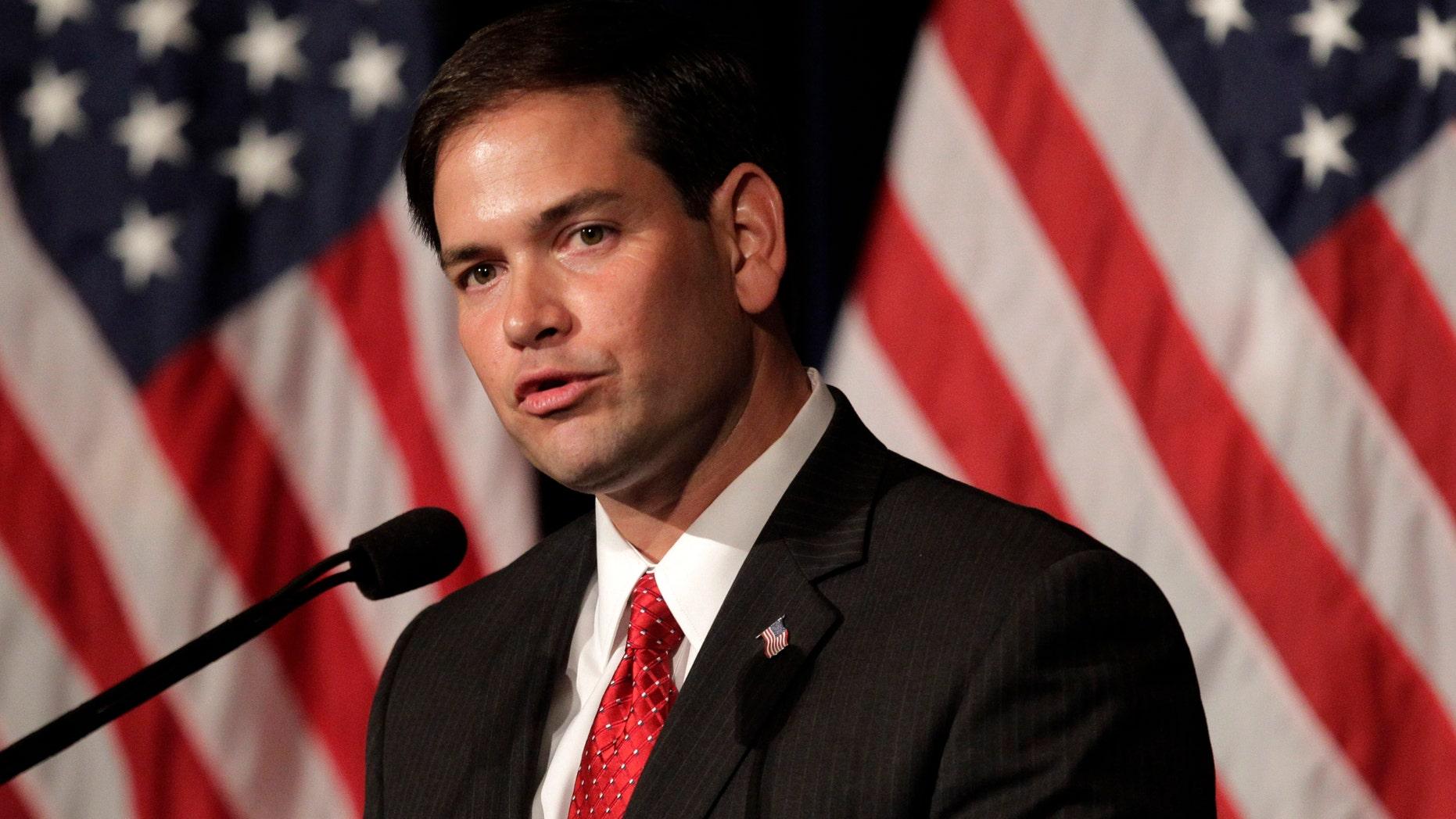 Sen. Marco Rubio, R-FL, speaks in Simi Valley, Calif., on Aug. 23, 2011. (AP Photo/Jae C. Hong, File)