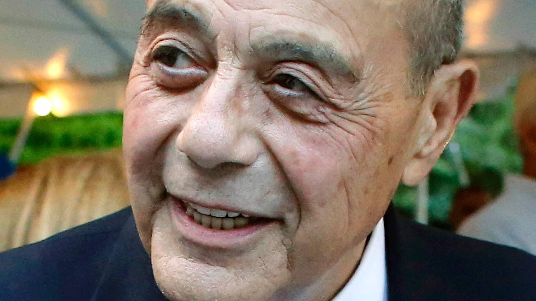 FILE - This Sept. 10, 2014, file photo shows former Providence, R.I., Mayor Buddy Cianci, who died at age 74 on Jan. 28, 2016, in Providence.  Cianci held office for more than 21 years, but was forced from his seat twice due to felonies. He left behind several ventures, including his self-branded pasta sauce, a scholarship fund and plans for a library to house 40 years' worth of memorabilia. (AP Photo/Steven Senne, File)