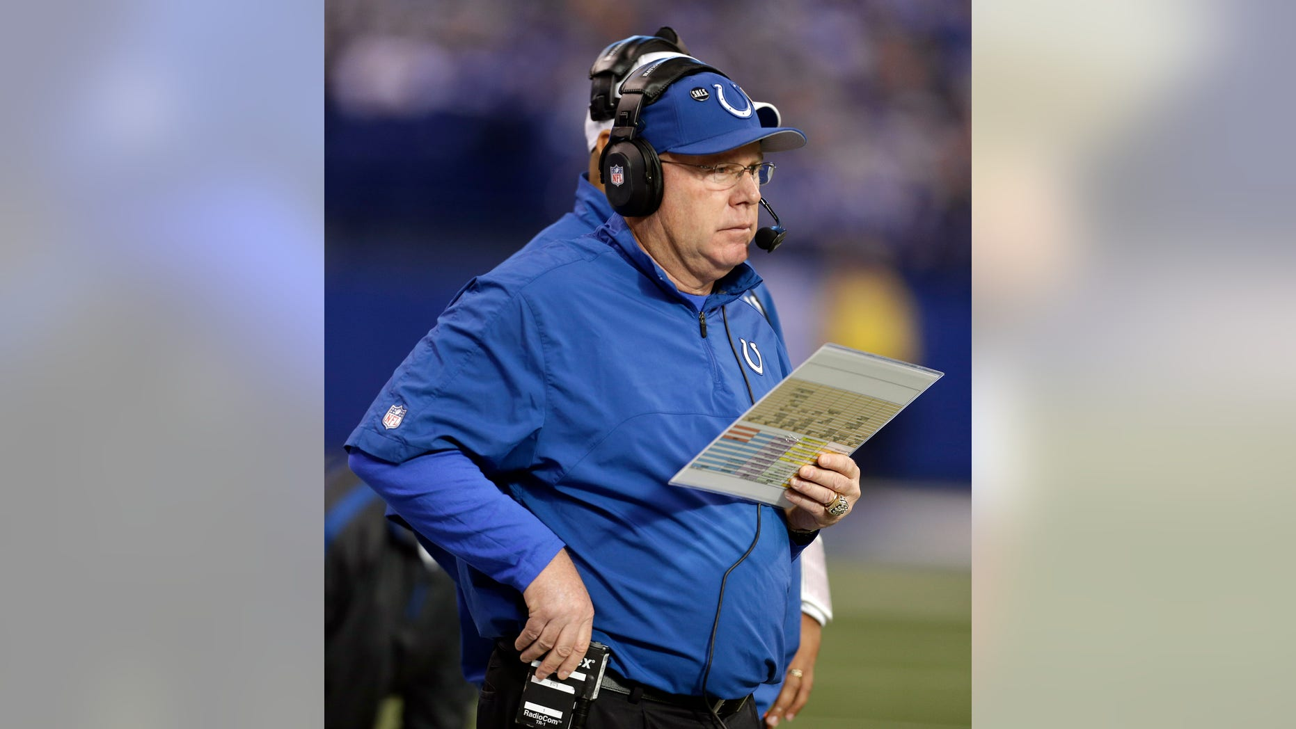FILE -In this Sunday, Dec. 30, 2012 file photo, Indianapolis Colts offensive coordinator Bruce Arians watches during the first half of an NFL football game against the Houston Texans, in Indianapolis. Arians has been hospitalized with an illness Sunday, Jan. 6, 2012. (AP Photo/Darron Cummings, File)
