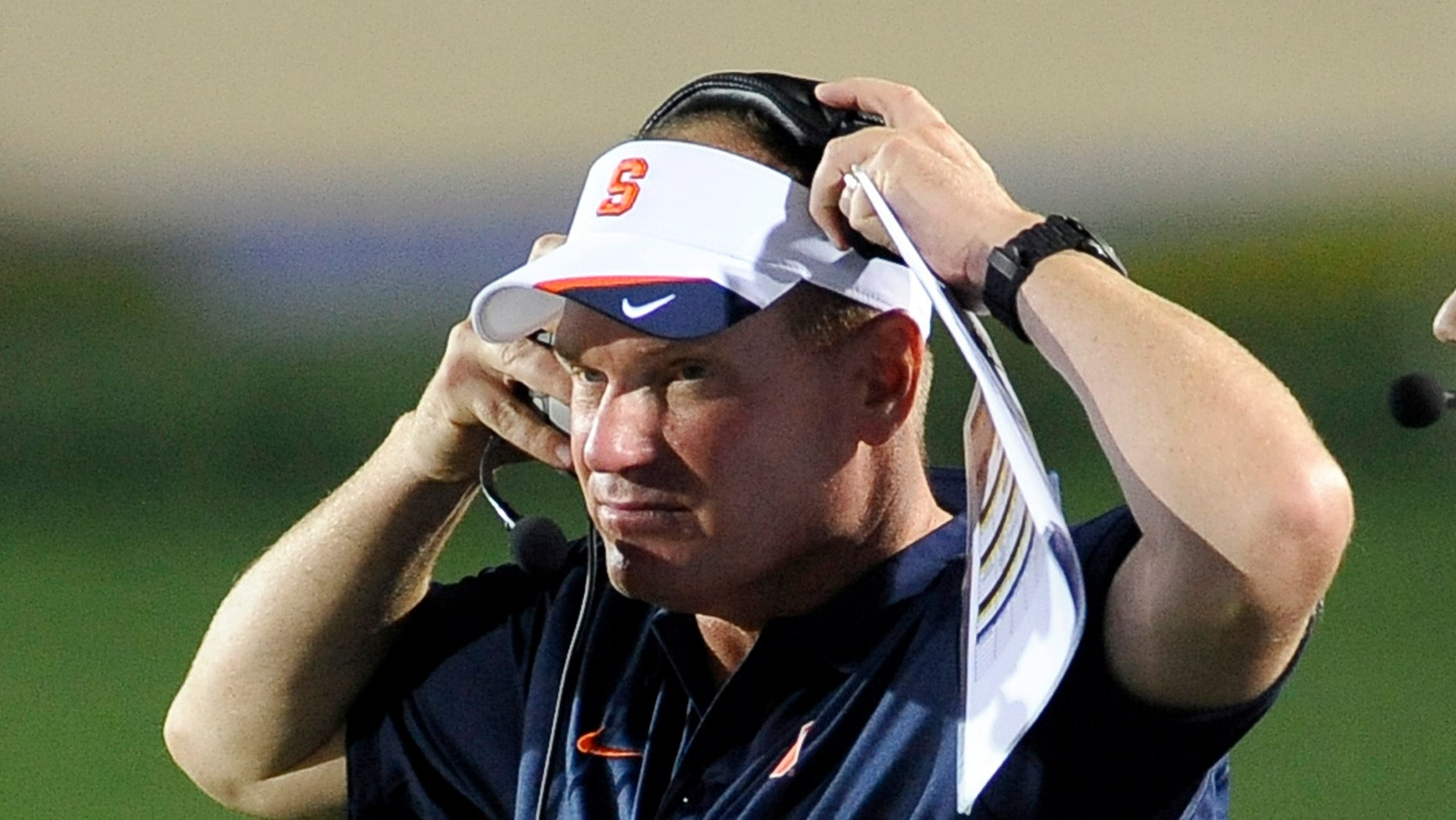 FILE - In this Sept. 7, 2013 file photo, Syracuse NCAA college football coach Scott Shaferwatches the action during an NCAA college football game against Northwestern University in Evanston, Ill. Shafer has had a bye week to right what went wrong against Georgia Tech. There was a lot to work on. (AP Photo/Matt Marton, File)