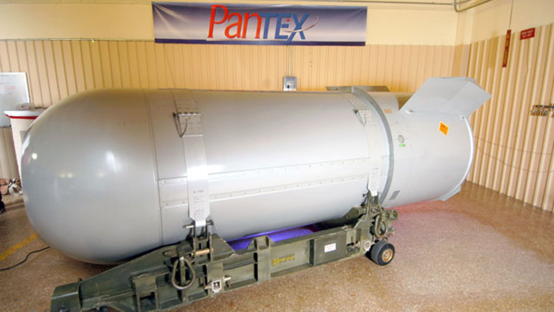 This undated handout photo provided by the National Nuclear Security Administration shows the United States' last B53 nuclear bomb. The 10,000-pound bomb is scheduled to be dismantled Tuesday, Oct. 25, 2011 at the Pantex Plant just outside Amarillo, Texas.