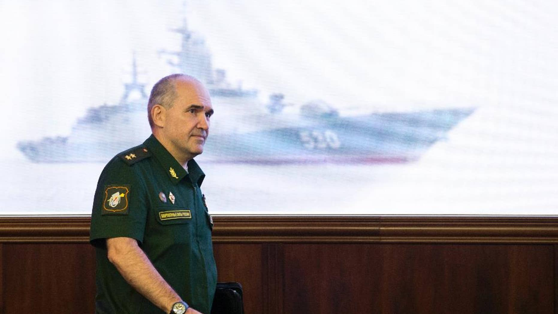 Lt.-Gen. Sergei Rudskoi of the Russian Military General Staff, arrives to speak to the media at a Russian Defense Ministry building in Moscow, Russia, Wednesday, Aug. 10, 2016. Rudskoi said that fighting in Aleppo will cease for three hours daily to allow humanitarian aid deliveries. (AP Photo/Ivan Sekretarev)
