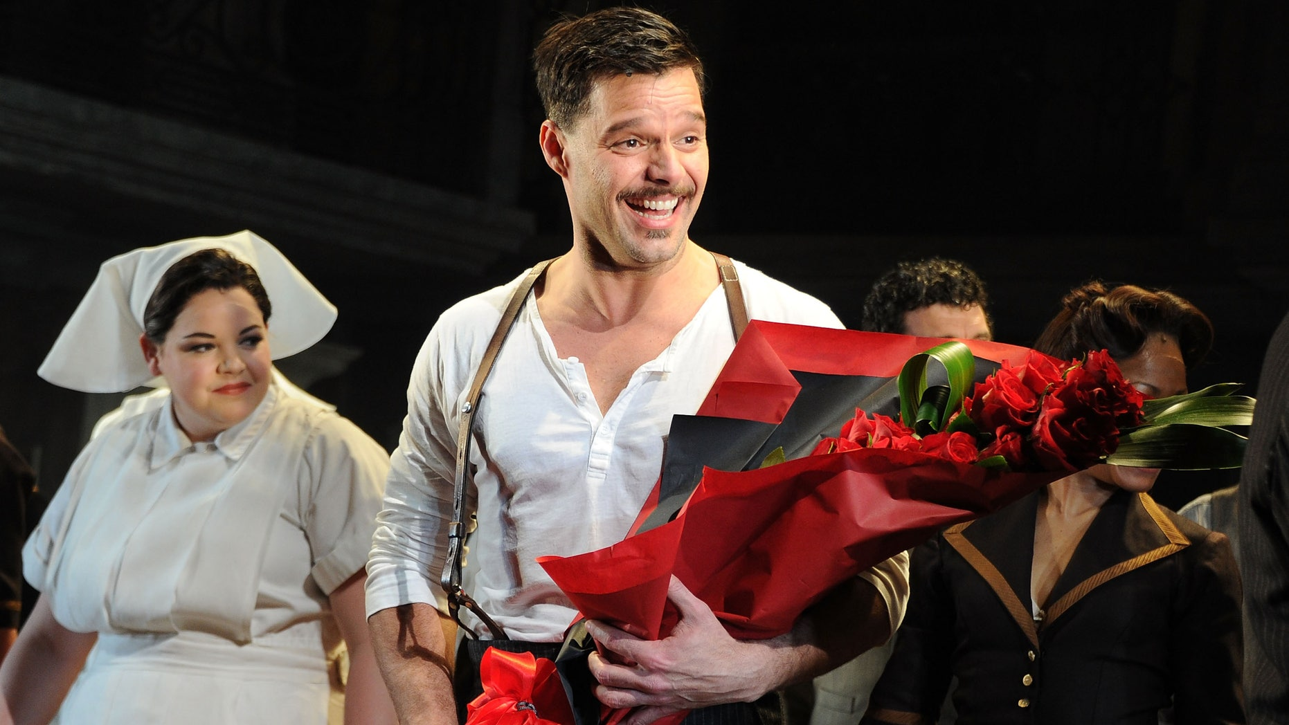 "April 5, 2012: Ricky Martin attends the ""Evita"" opening night's new star cast at the Marquis Theatre in New York City."