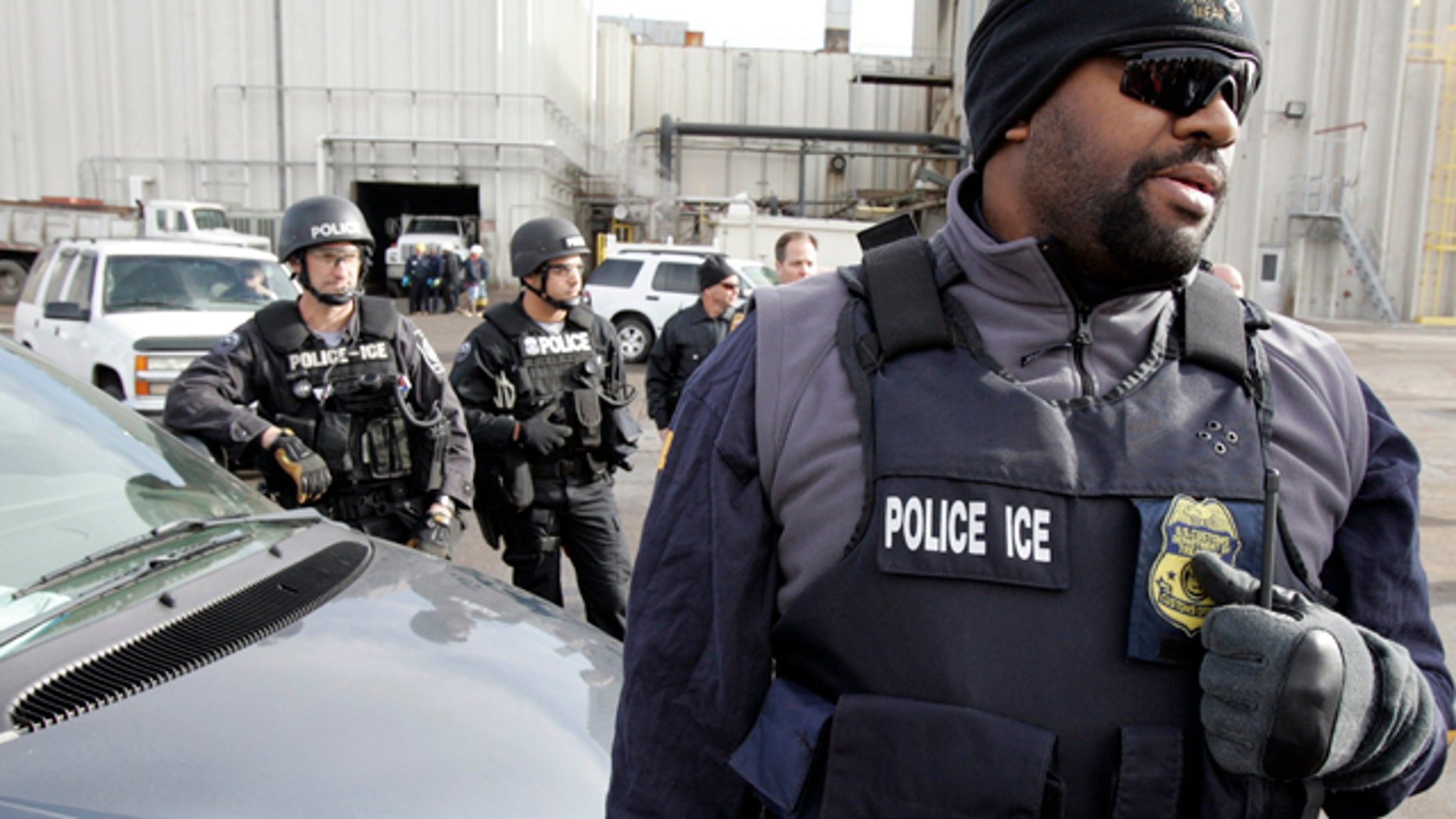 Agents with U.S. Immigration and Customs Enforcement.