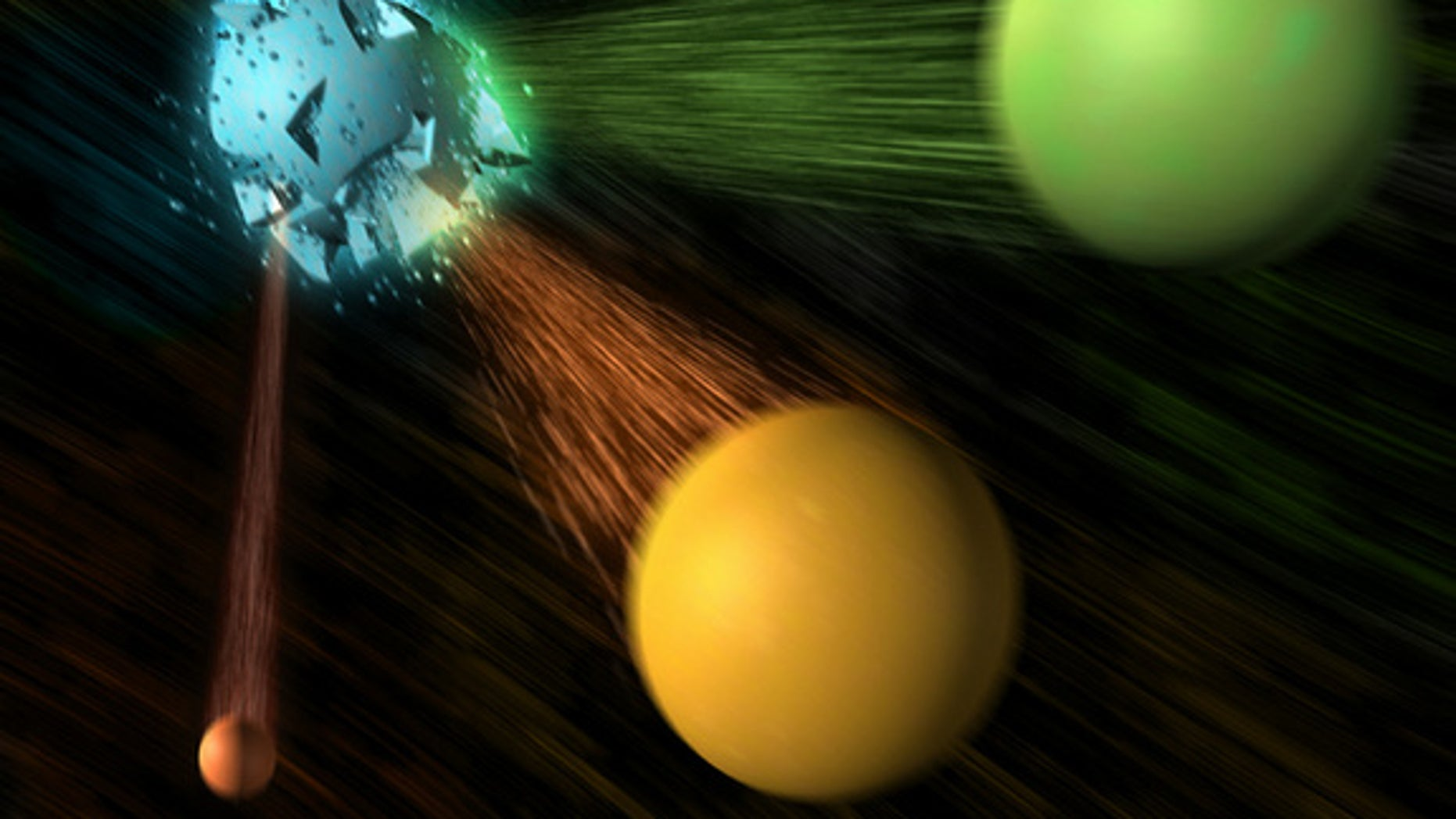 This illustration shows a an electron and positron colliding, resulting in a B meson (not shown) and an antimatter B-bar meson, which then decays into a D meson and a tau lepton as well as a smaller antineutrino. In findings reported in June 20.