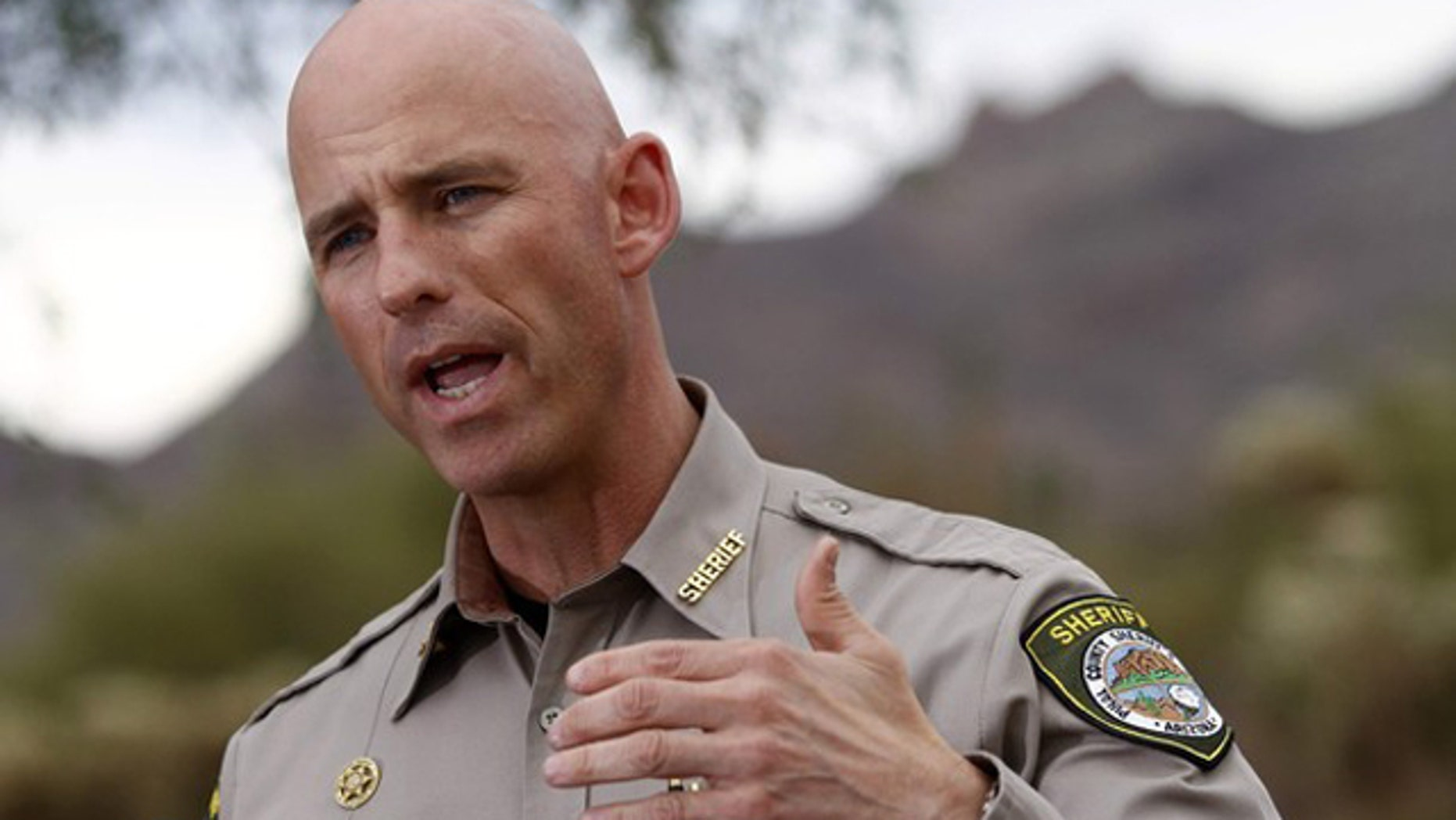 Nov. 24, 2011: Pinal County Sheriff Paul Babeu speaks during a news conference in Apache Junction, Ariz.
