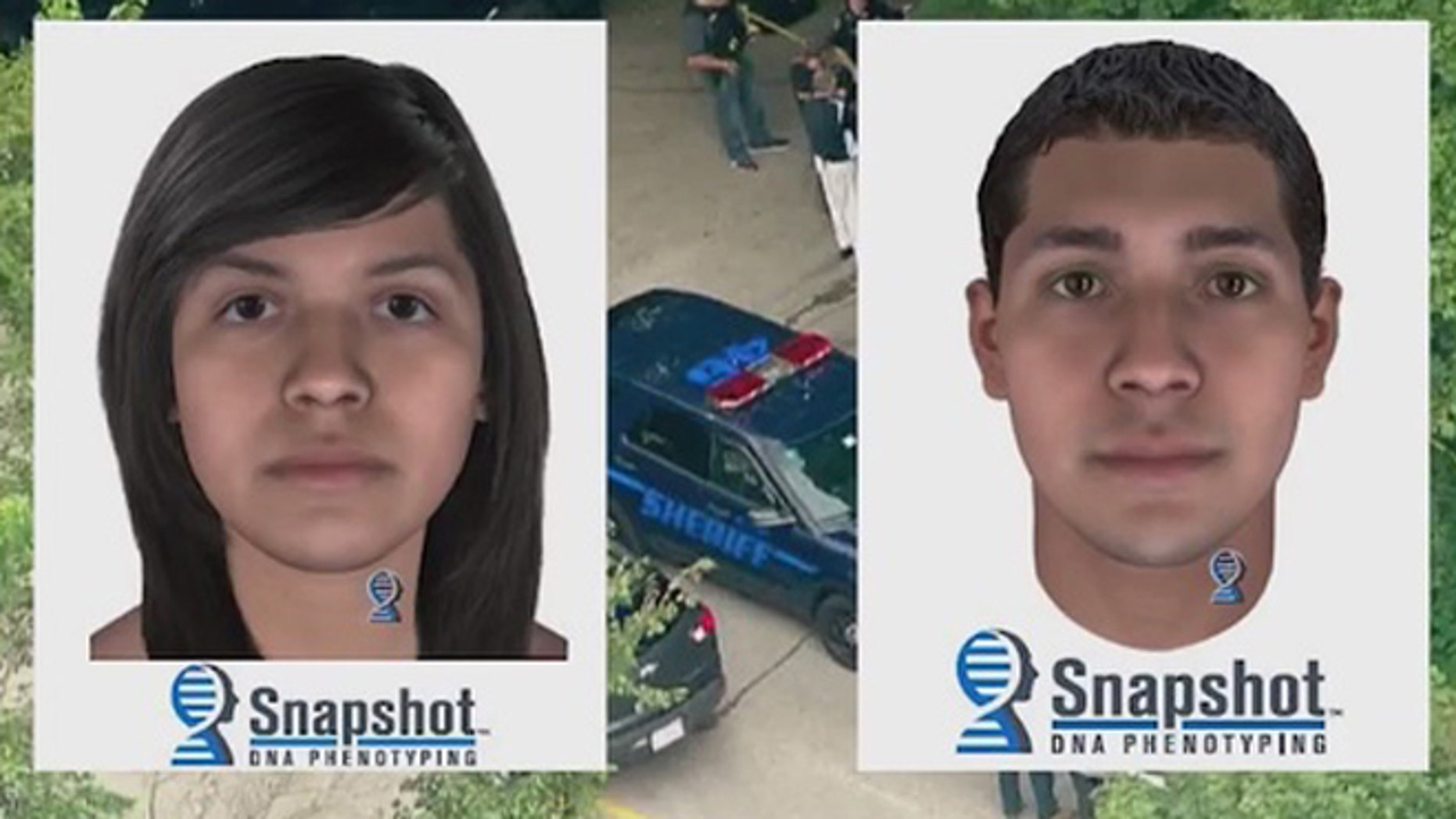 """Investigators say these composites may resemble the parents of a dead infant known as """"Baby Hope."""" (Fox 32 Chicago)"""