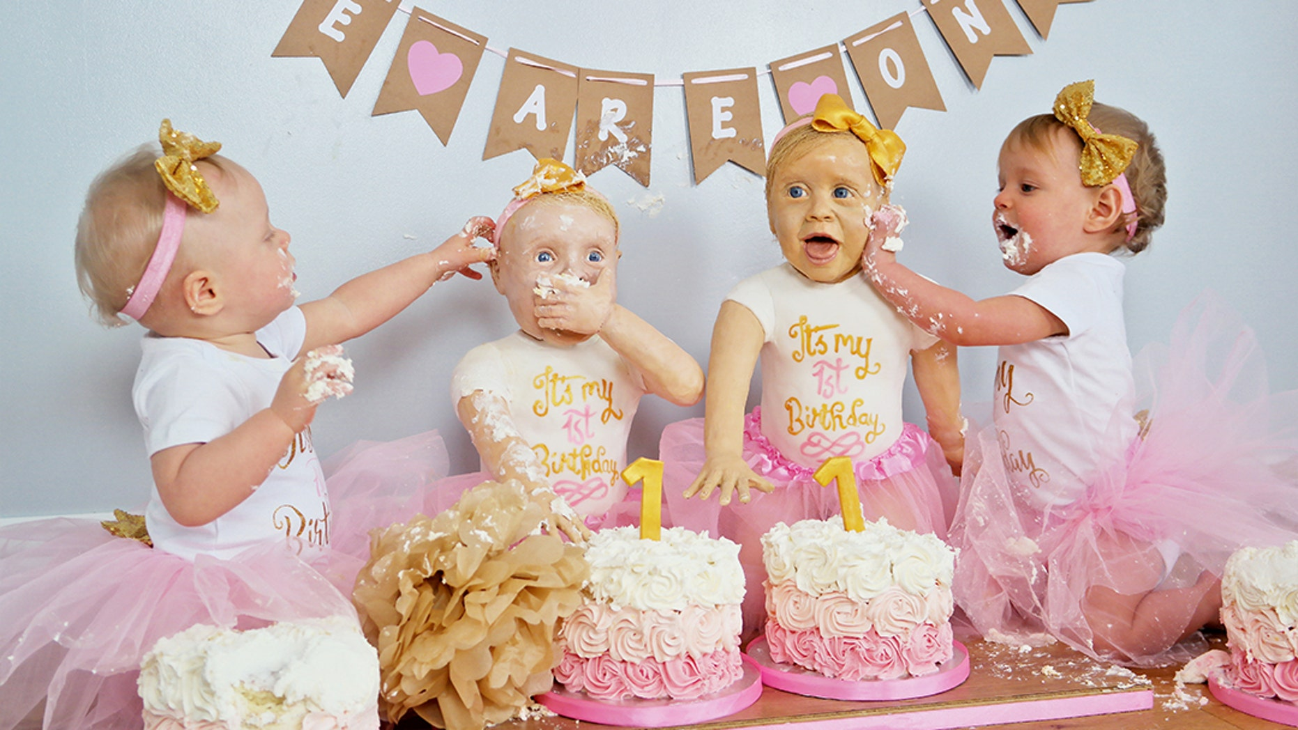 Baker Created Life Sized Cakes Of Twin Daughters For First Birthday