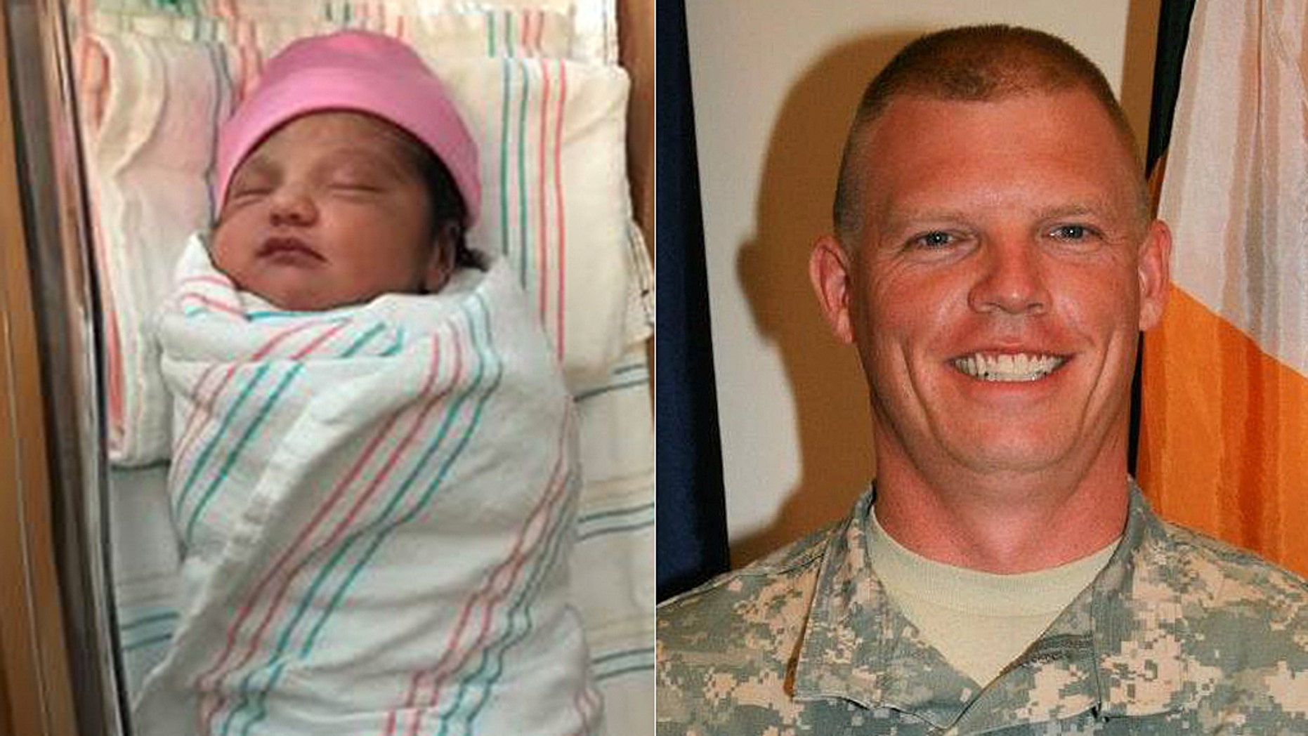 Baby Camila (left) was born in a credit union parking lot and Officer Jason Carty (right) was on hand to help deliver her in an emergency