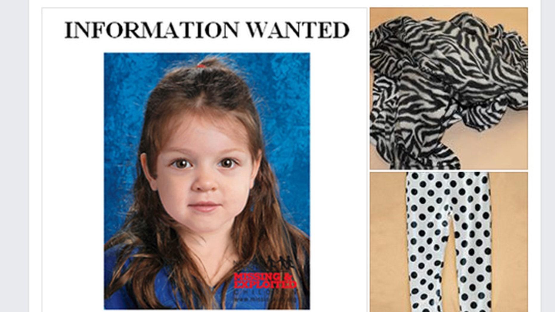 The little girl was wearing polka-dot leggings and a zebra-striped blanket. (Massachusetts State Police)