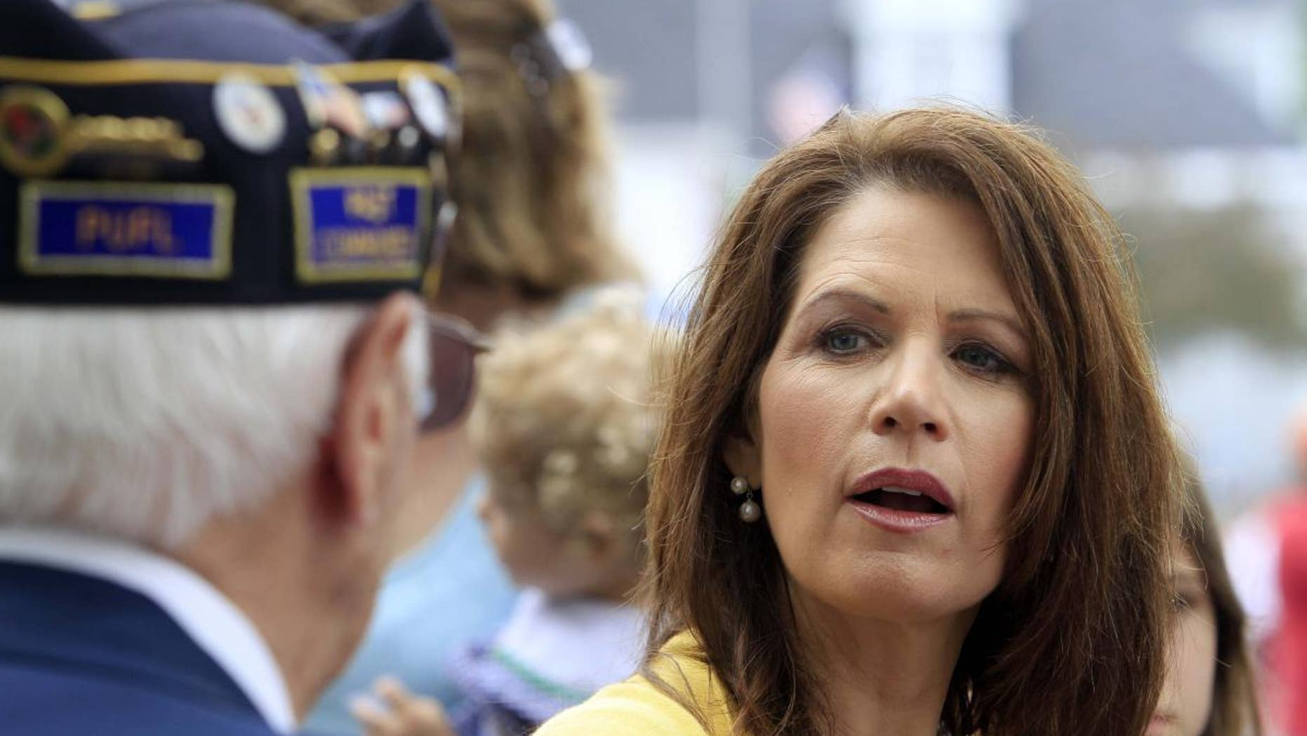 Minnesota Rep. Michele Bachmann speaks to a veteran at a North Hampton, NH Memorial Day parade Monday. (AP Photo)