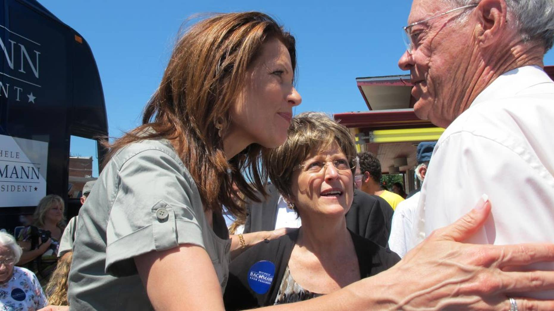 Minn. Rep. Michele Bachmann, left, greets supporters at a rally in Marshalltown, Iowa. (Fox News Photo)