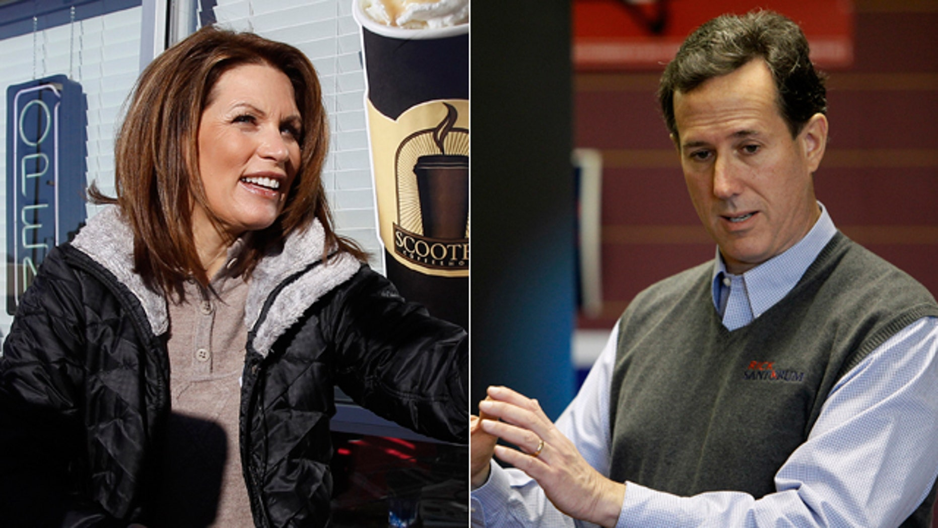 Two politically active pastors in Iowa's robust evangelical conservative movement are trying to persuade either Michele Bachmann, left, or Rick Santorum, right, to consider quitting the Republican presidential race.