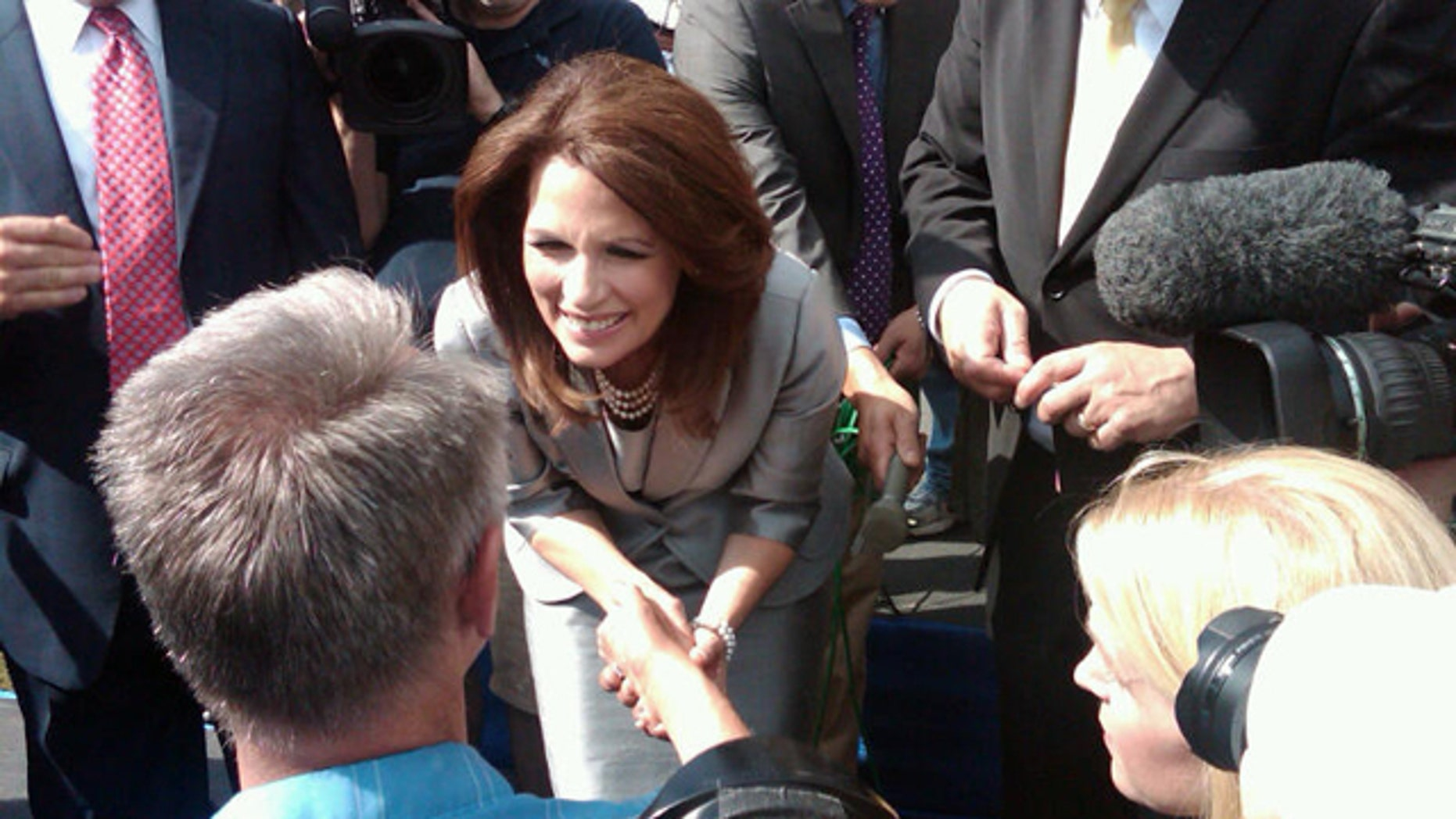 Rep. Michele Bachmann greets the crowd at her campaign kickoff in Waterloo, Iowa, June 27.
